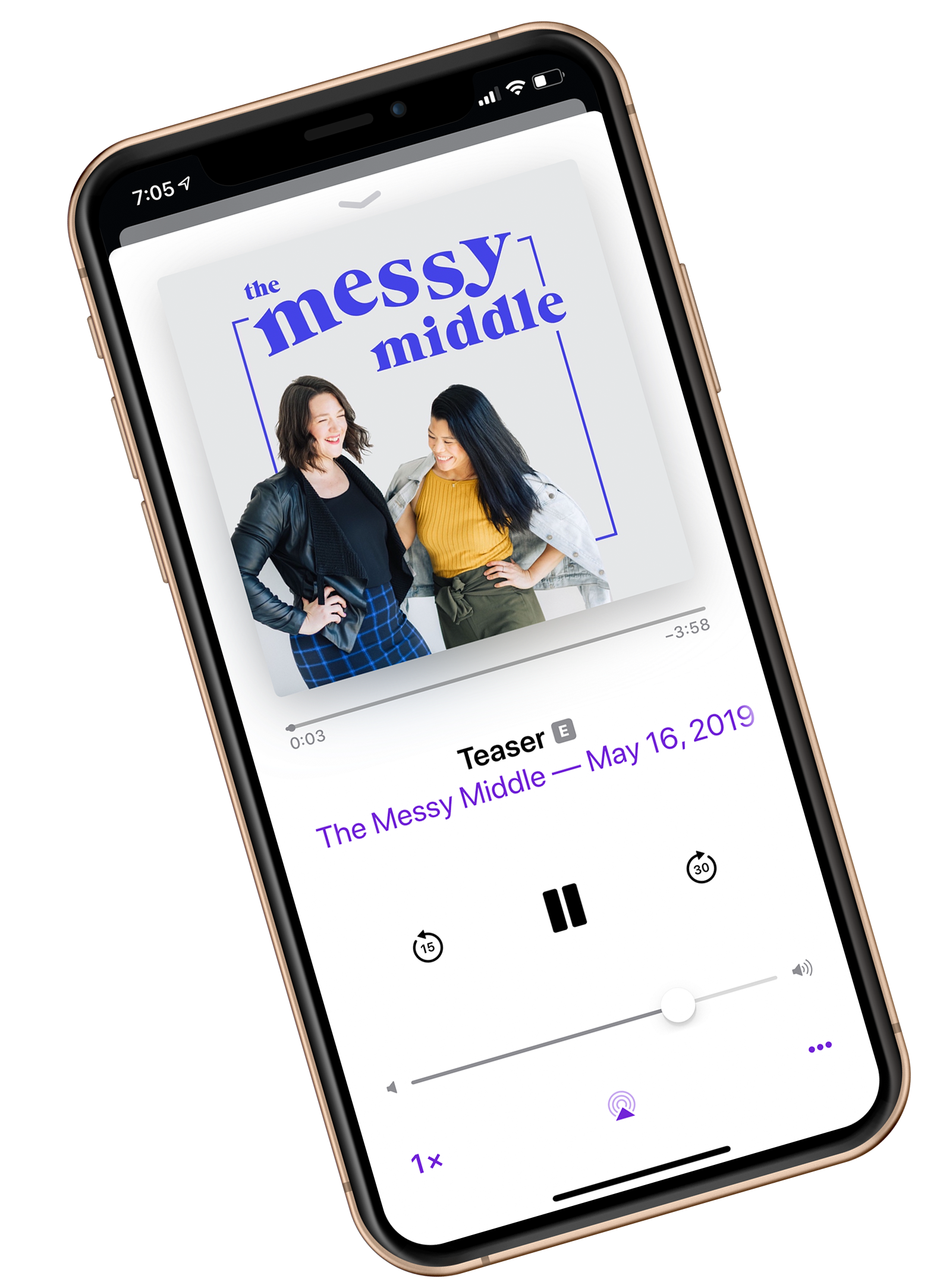 The Messy Middle podcast shown on a large diagonal iphone X