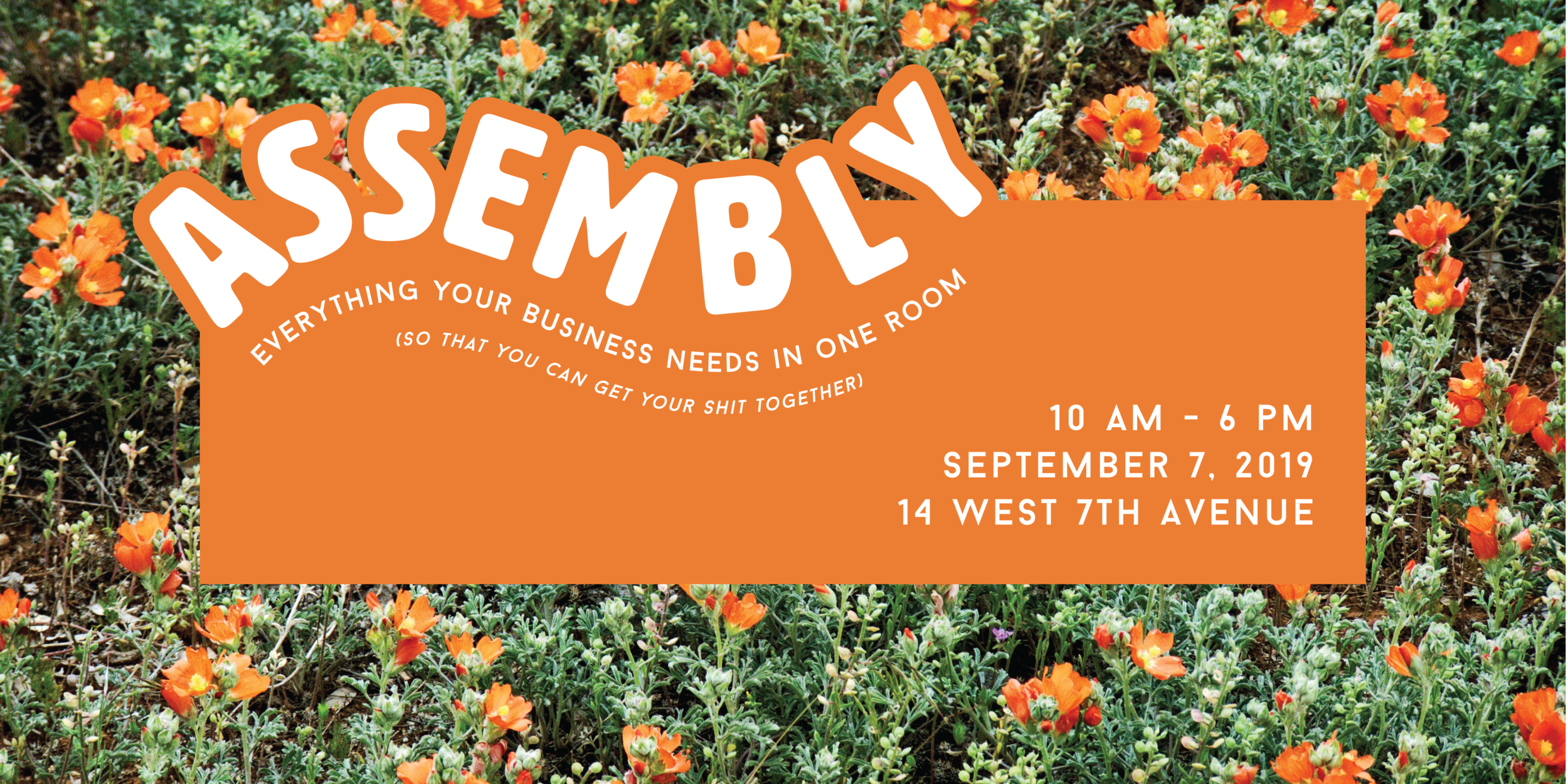 Assembly event graphic in bright orange on a photo of orange flowers