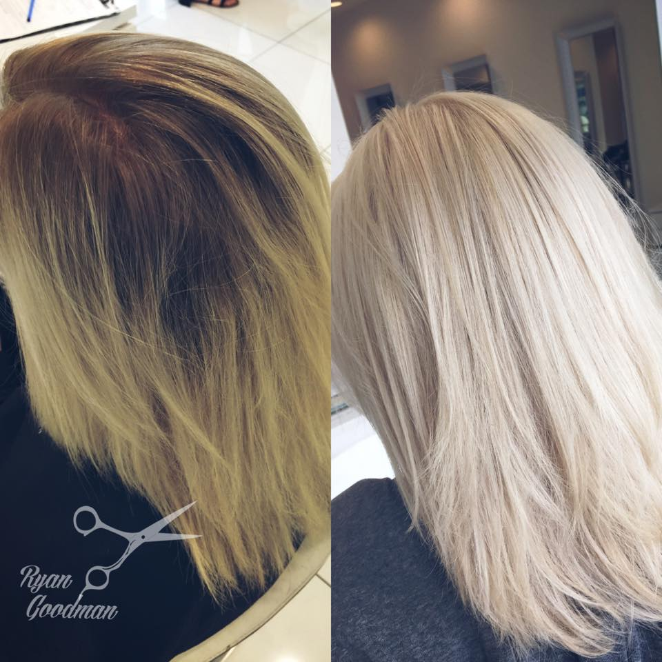 On the left: her hair was a brassy yellow tone when she came in. On the right: I did a bleach retouch and then when rinsing out her hair it was still a brassy yellow tone.    I then mixed up a toner with a violet base to help cancel out the yellow, and the results turned out wonderful. What a beautiful blonde everyone is looking for these days.