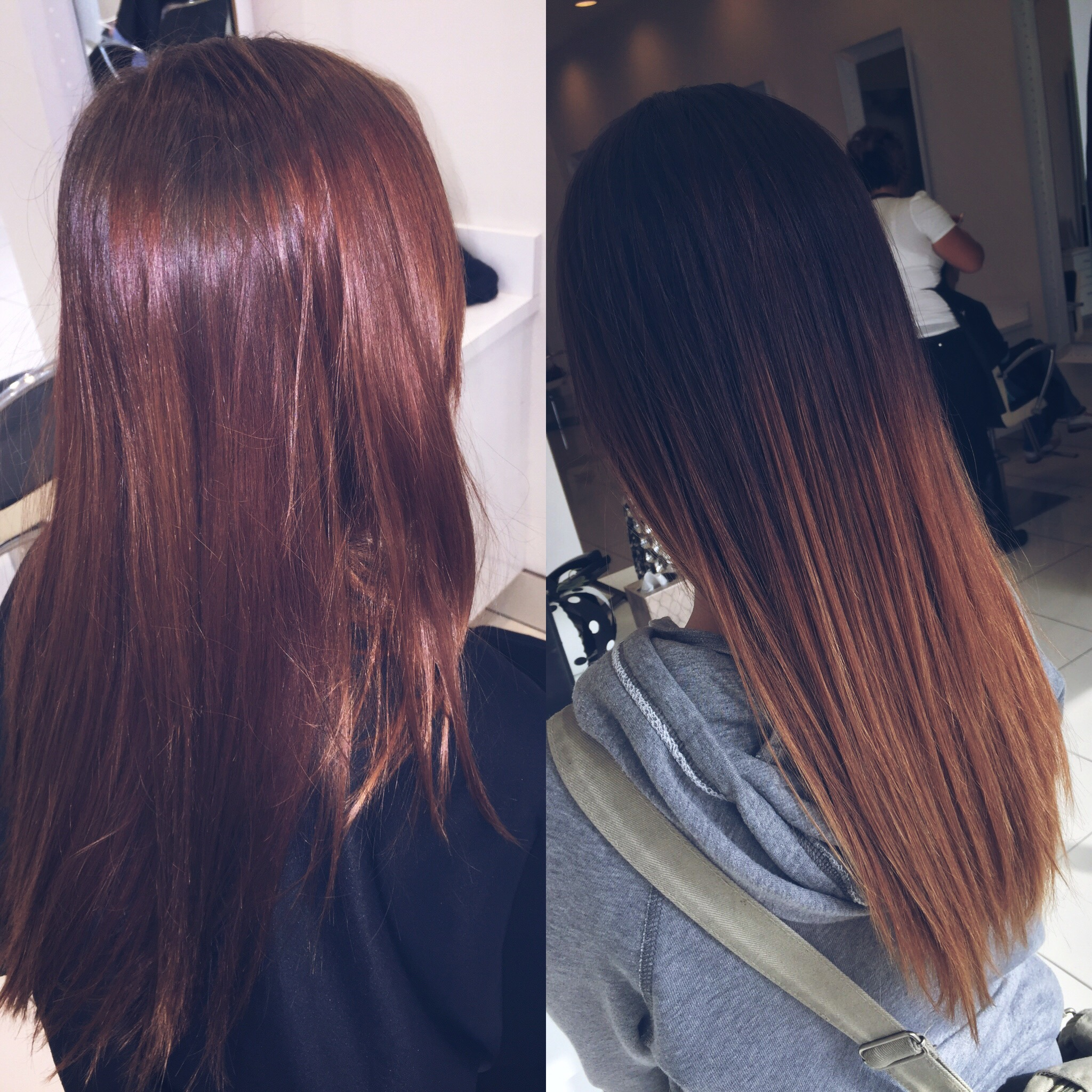 Before and after. Ombré technique