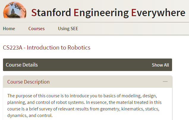 Introduction to Robotics from Stanford University