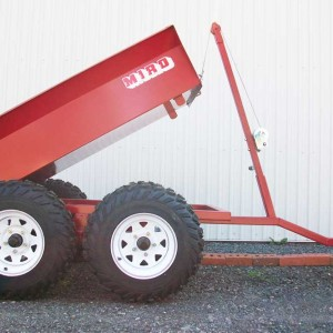 RD 3060 Trailer , 4 wheels, tilting, all terrain with rear panel, 30 '' x 60 '', next to 14 '', side view