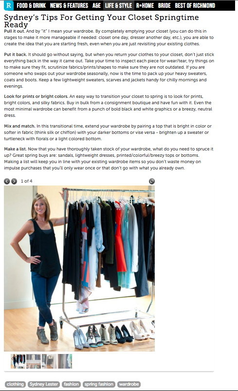 A Personal Stylist's Spring Cleaning Closet Tips, Richmond Magazine