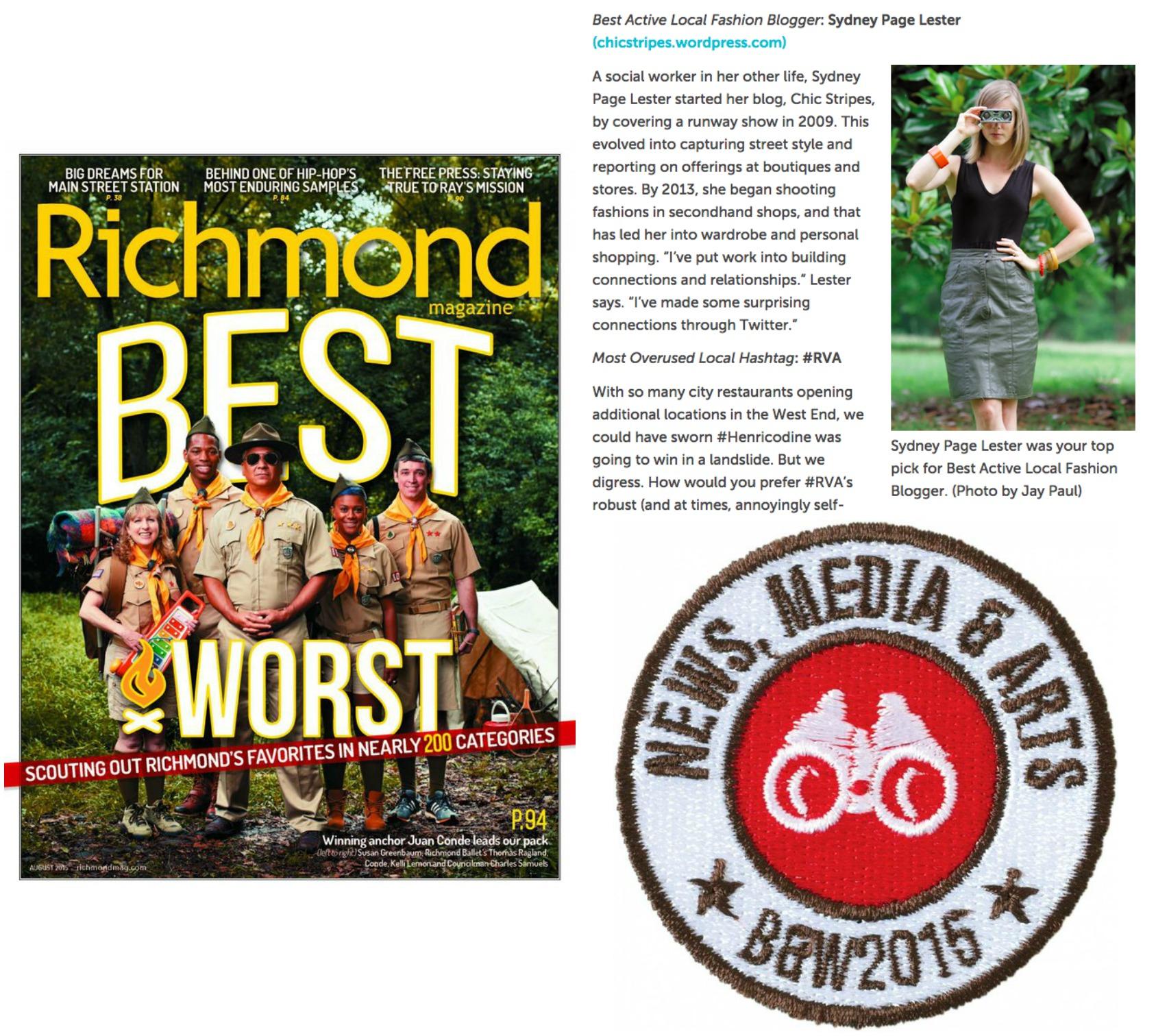 Best and Worst 2015, Best Active Local Fashion Blogger, Richmond Magazine