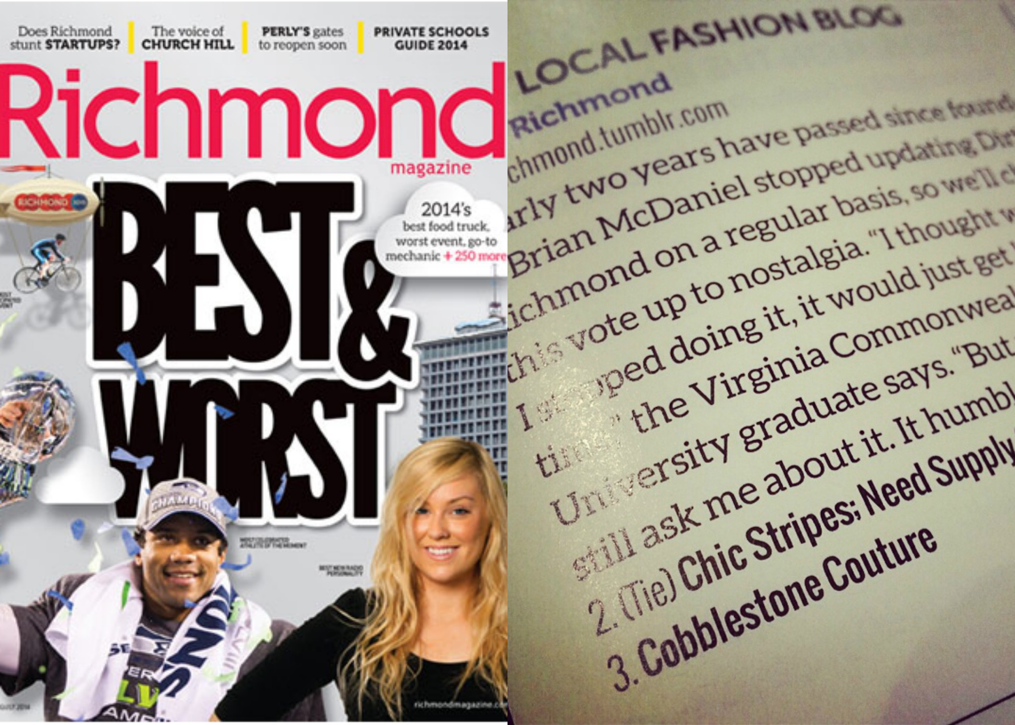Best & Worst 2014, Best Local Fashion Blog, second place tie with Need Supply Company, Richmond Magazine