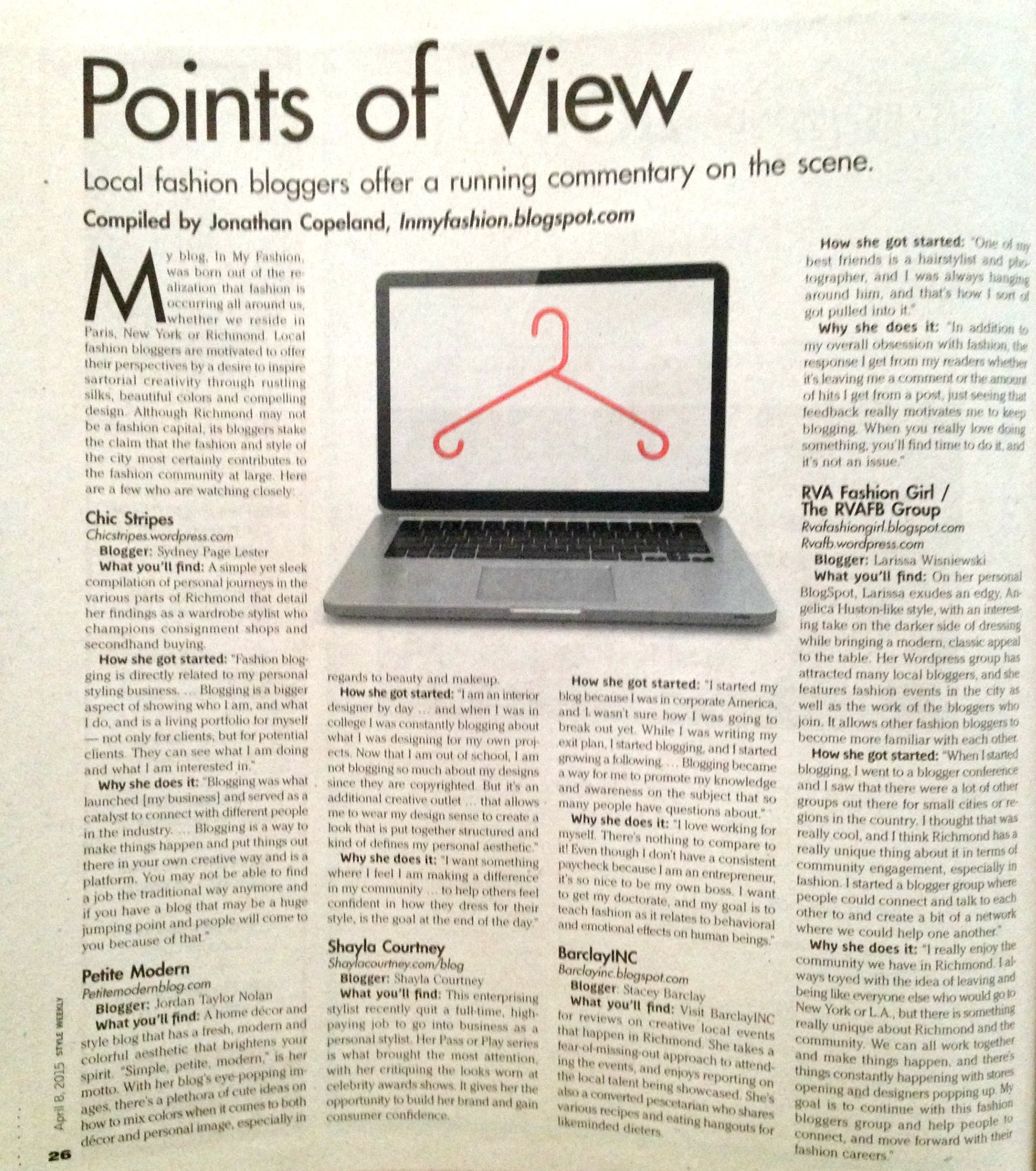 Points of View, Local fashion bloggers offer a running commentary on the Richmond scene, Style Weekly
