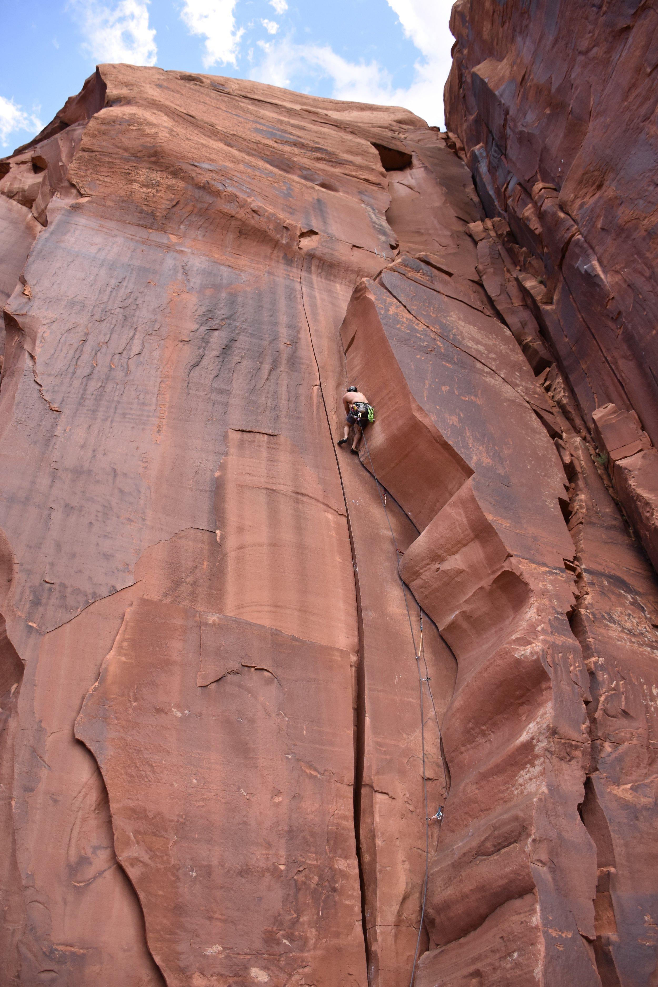 "Crack climbing ""Wavy Gravy"" in Indian Creek"