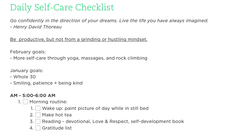 This is a sample of what my morning self-care checklist looks like.