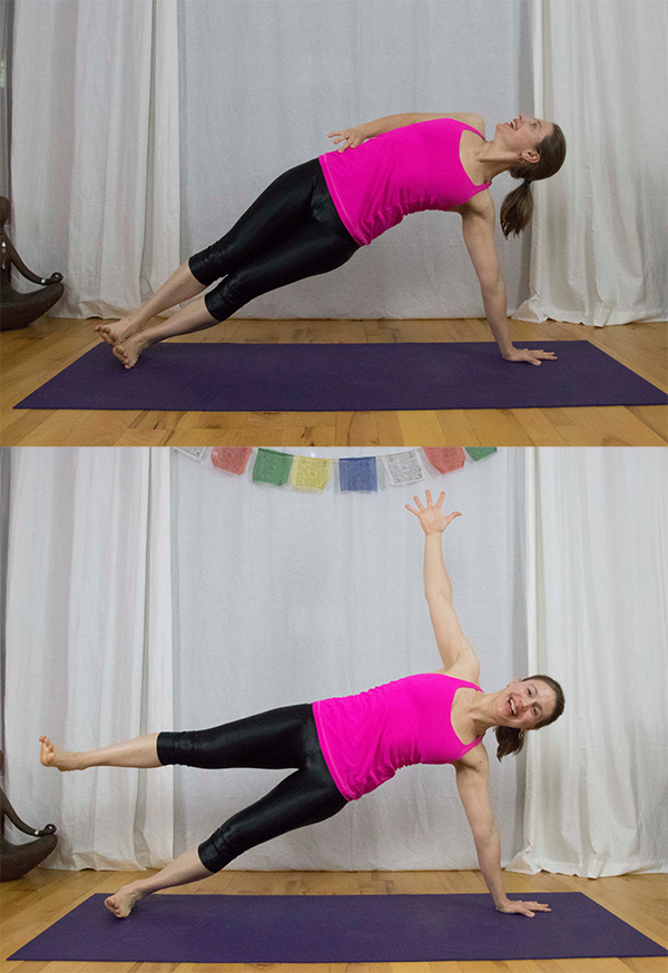 Strengthen gluteus medius, core, and arms with this yoga pose - side plank/vasisthasana. www.irenamiller.com