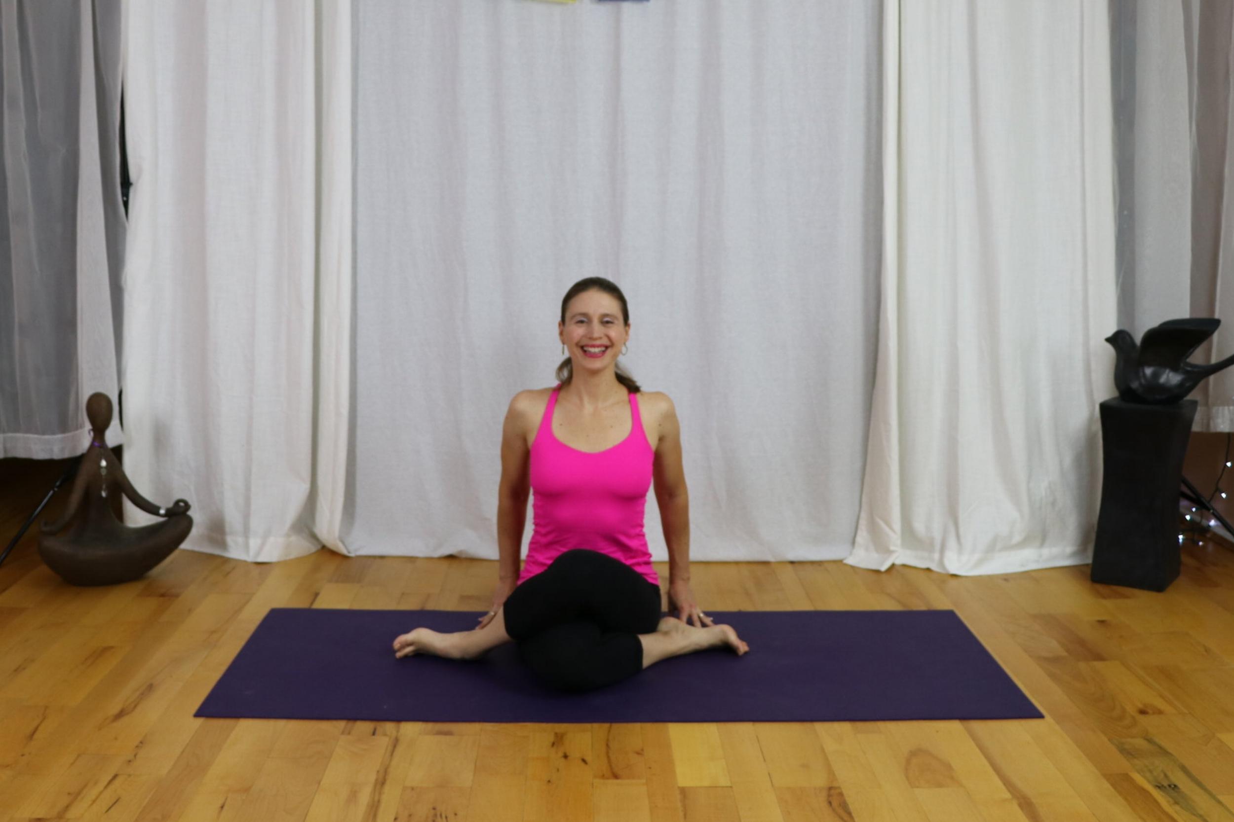 yoga for stiff hips with irena miller. cow face pose/gomukhasana www.irenamiller.com
