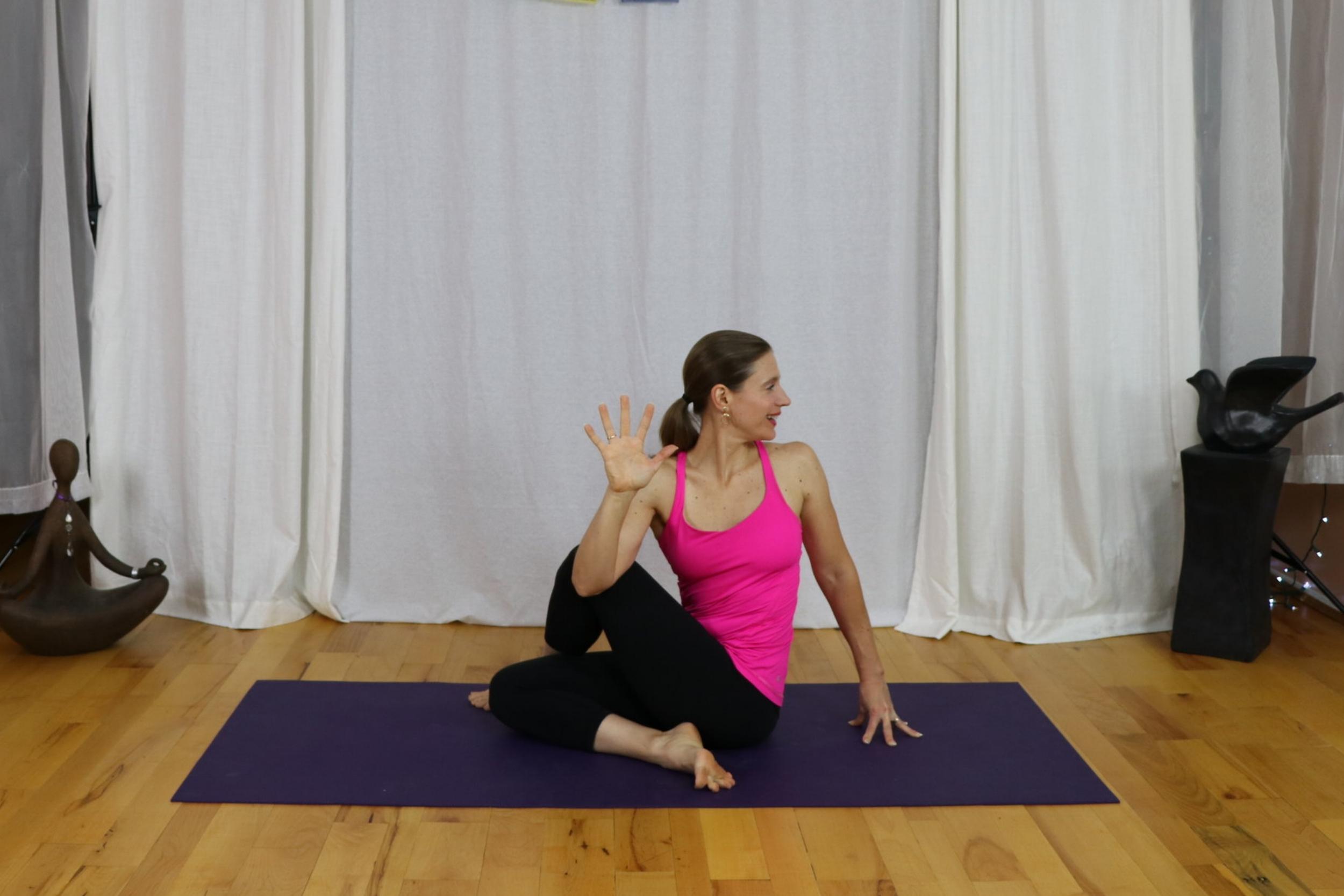 yoga for tight hips half twist pose/ardha matsyendrasana yoga with irena miller www.irenamiler.com