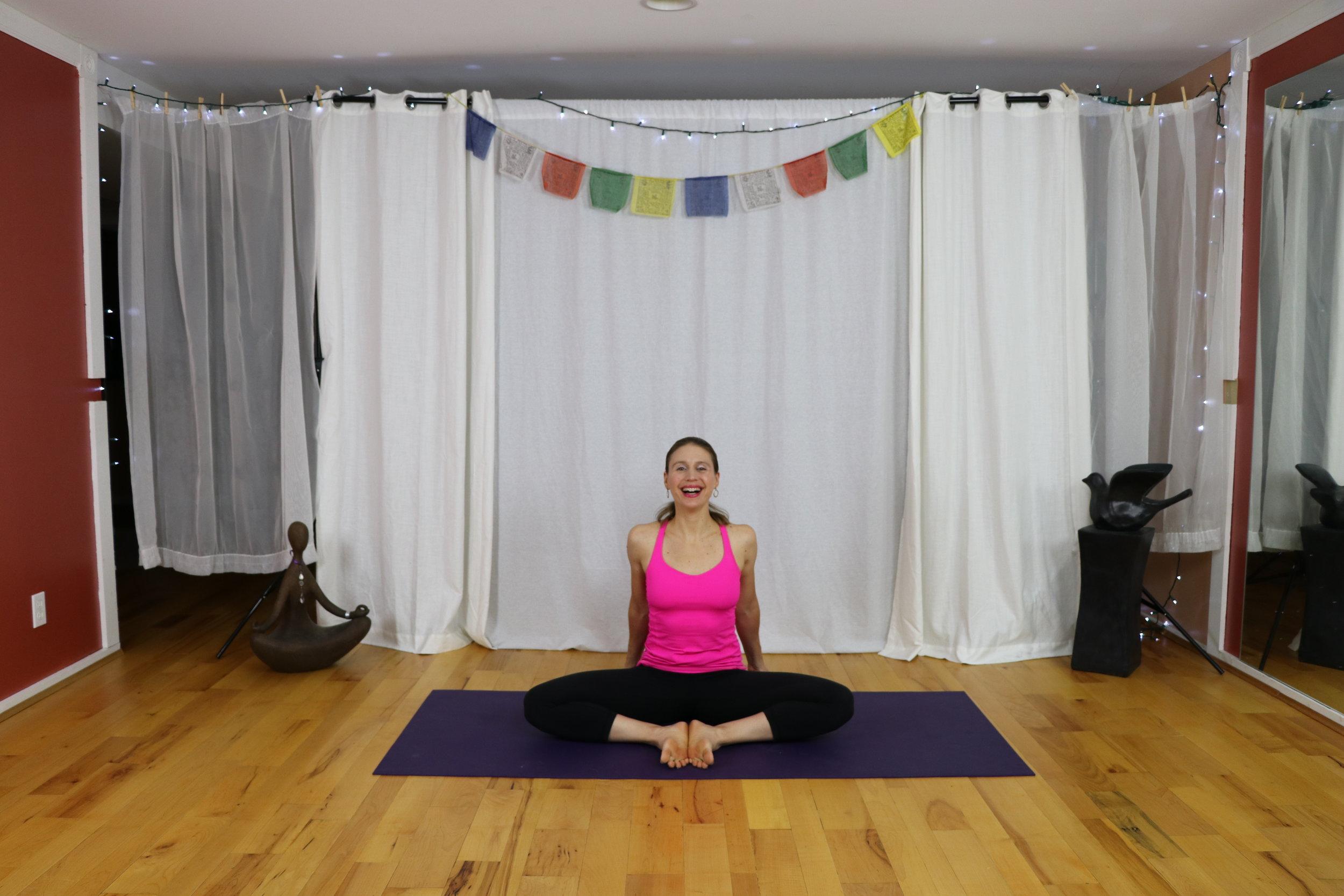 yoga for tight stiff hips baddha konasana/butterfly pose/bound angle pose yoga with irena miller www.irenamiller.com