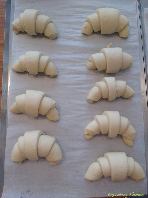 My half-moon shaped croissants ready for proofing