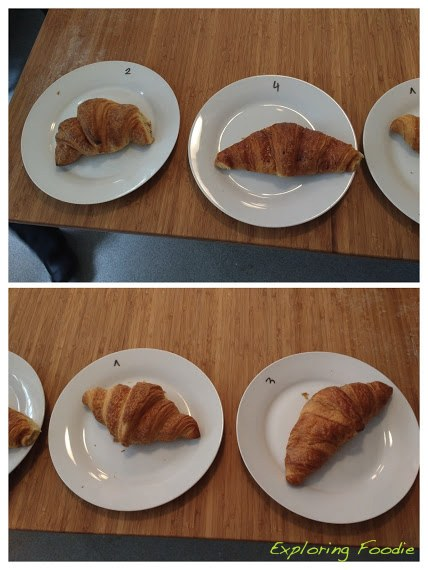 While our dough is resting and croissants are proofing, we sample the commercial croissants (Had some interesting results)