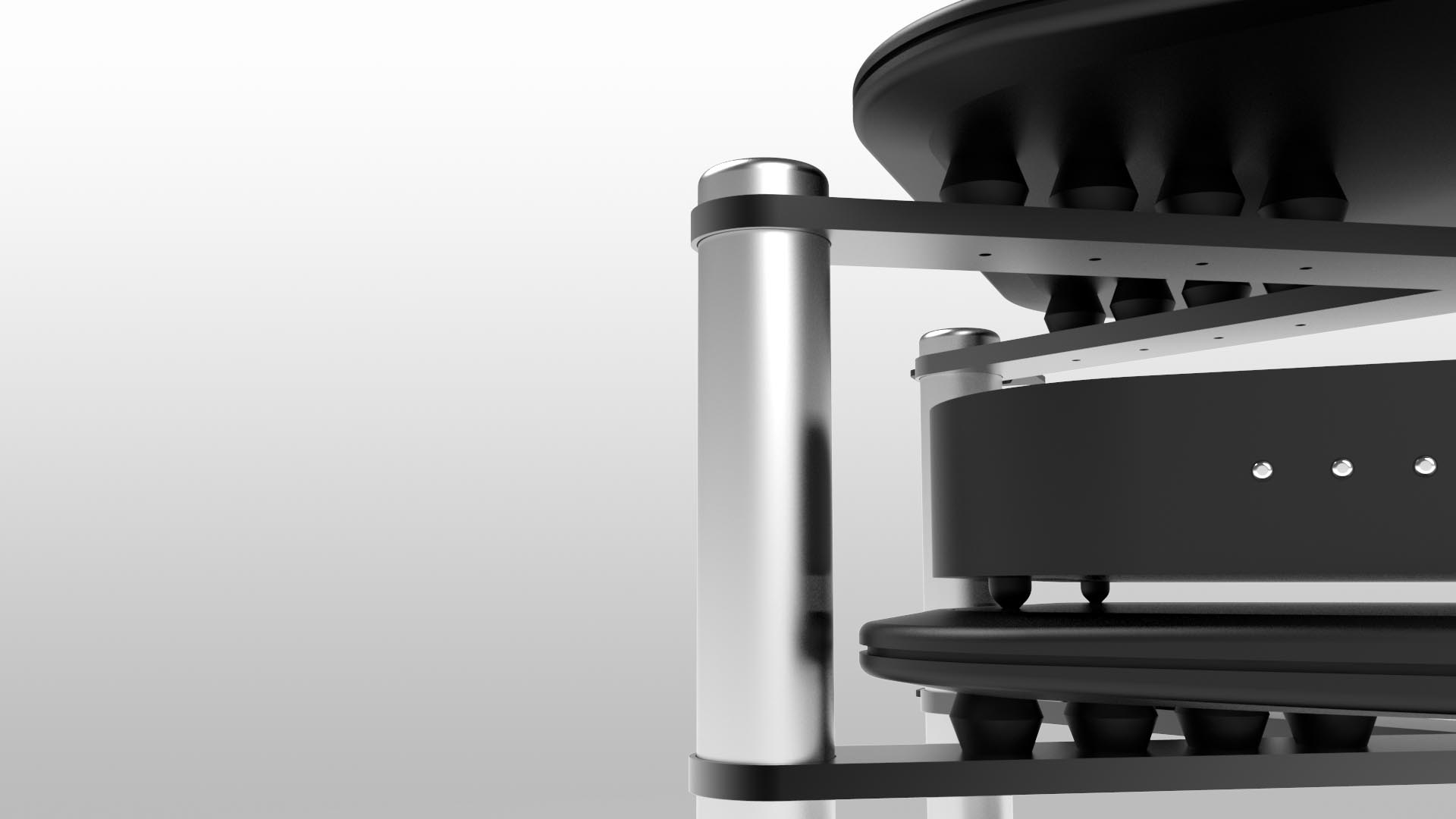 Purpose Made Silicon Isolators  When you sit your prized equipment on each level, expect to feel a little give, as the silicon isolators kick in to provide the most exceptional level of isolation in our modular racking system.  Available in Black or White