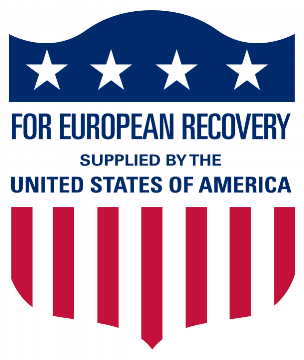 Logo on US aid delivered to European countries during the Marshall Plan starting in 1948. (Wikimedia Commons)