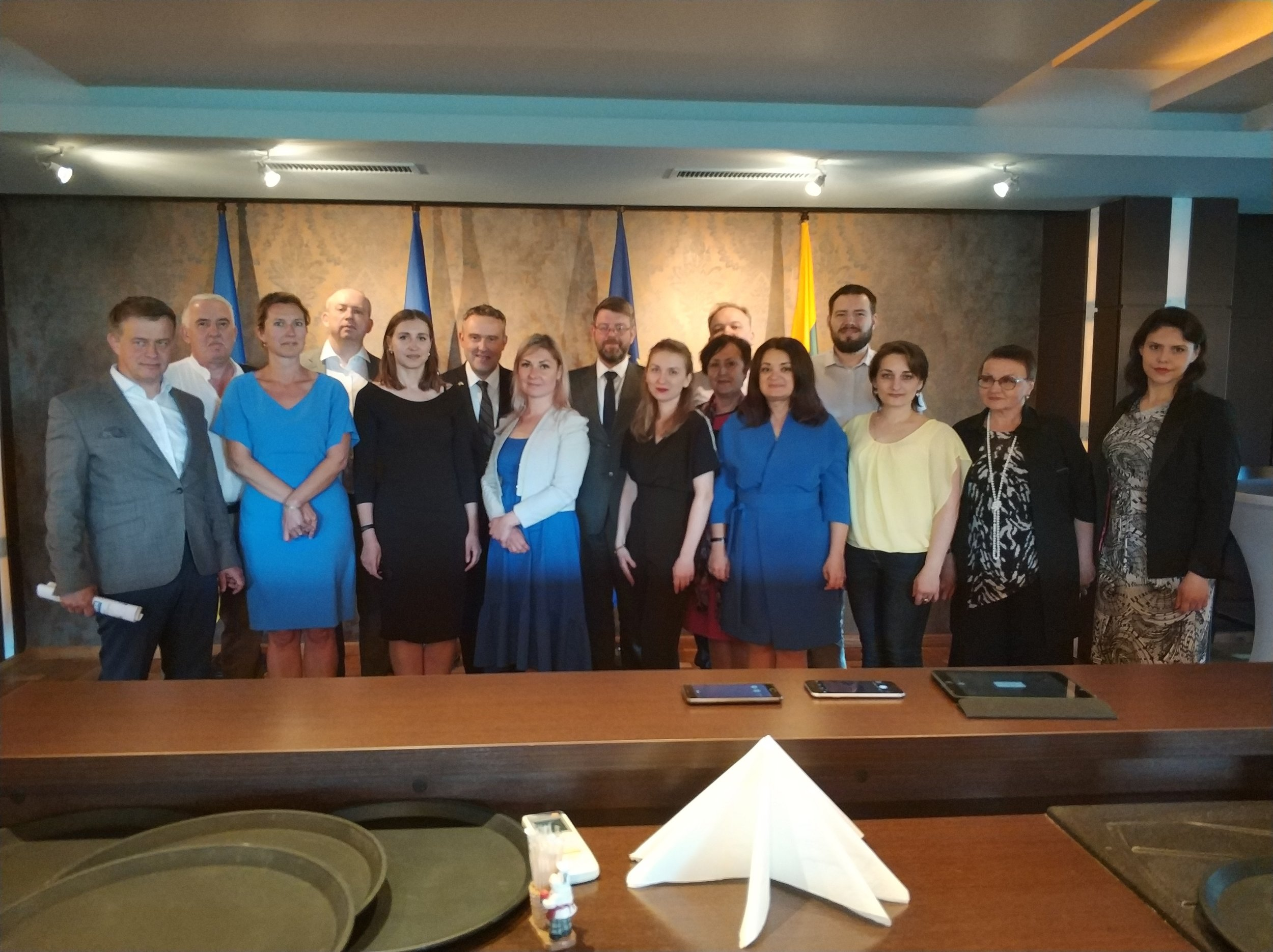 The team of contributors with HE Luc Jacobs, the Ambassador of Belgium to Ukraine, HE Marius Janukonis, the Ambassador of Lithuania to Ukraine, and attendees of the event at C3EU public presentation at the Embassy of Lithuania to Ukraine, Kyiv, Ukraine. June 7, 2018.