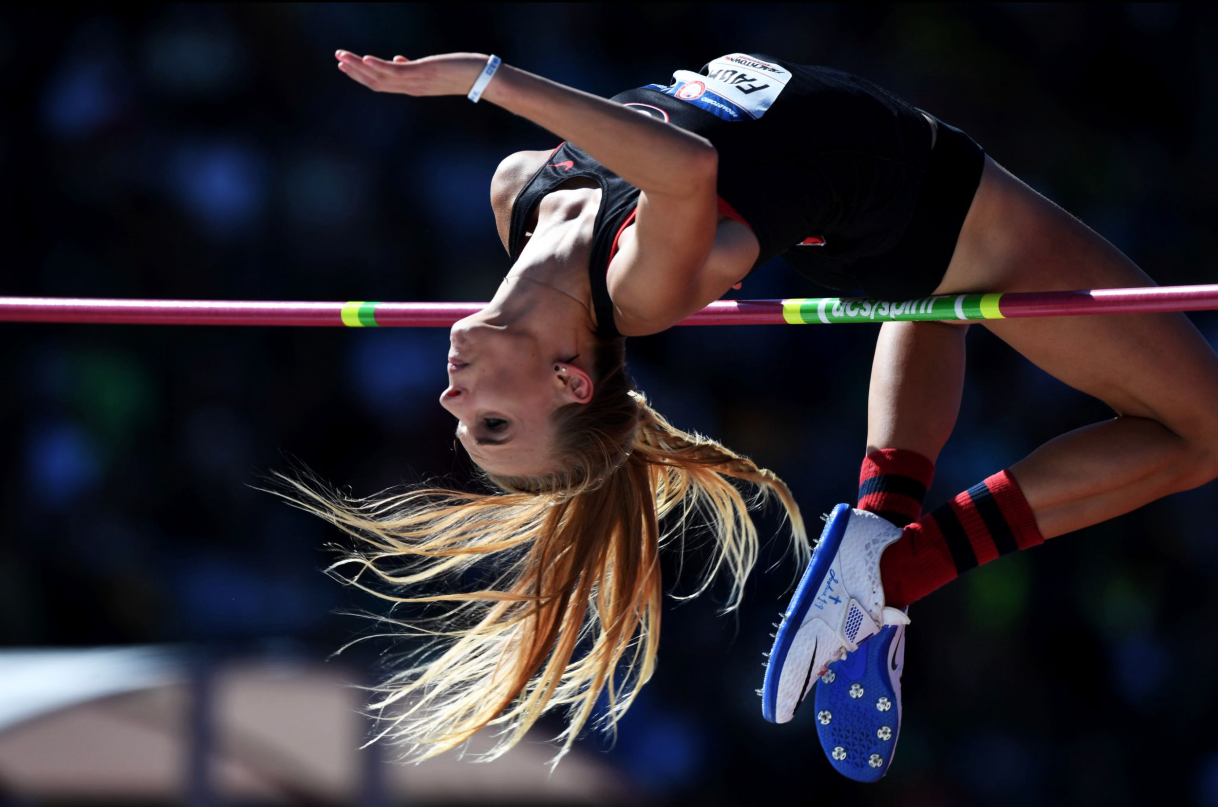 Madeline Fagan clears the women's high jump competition. She finished seventh overall in the event.