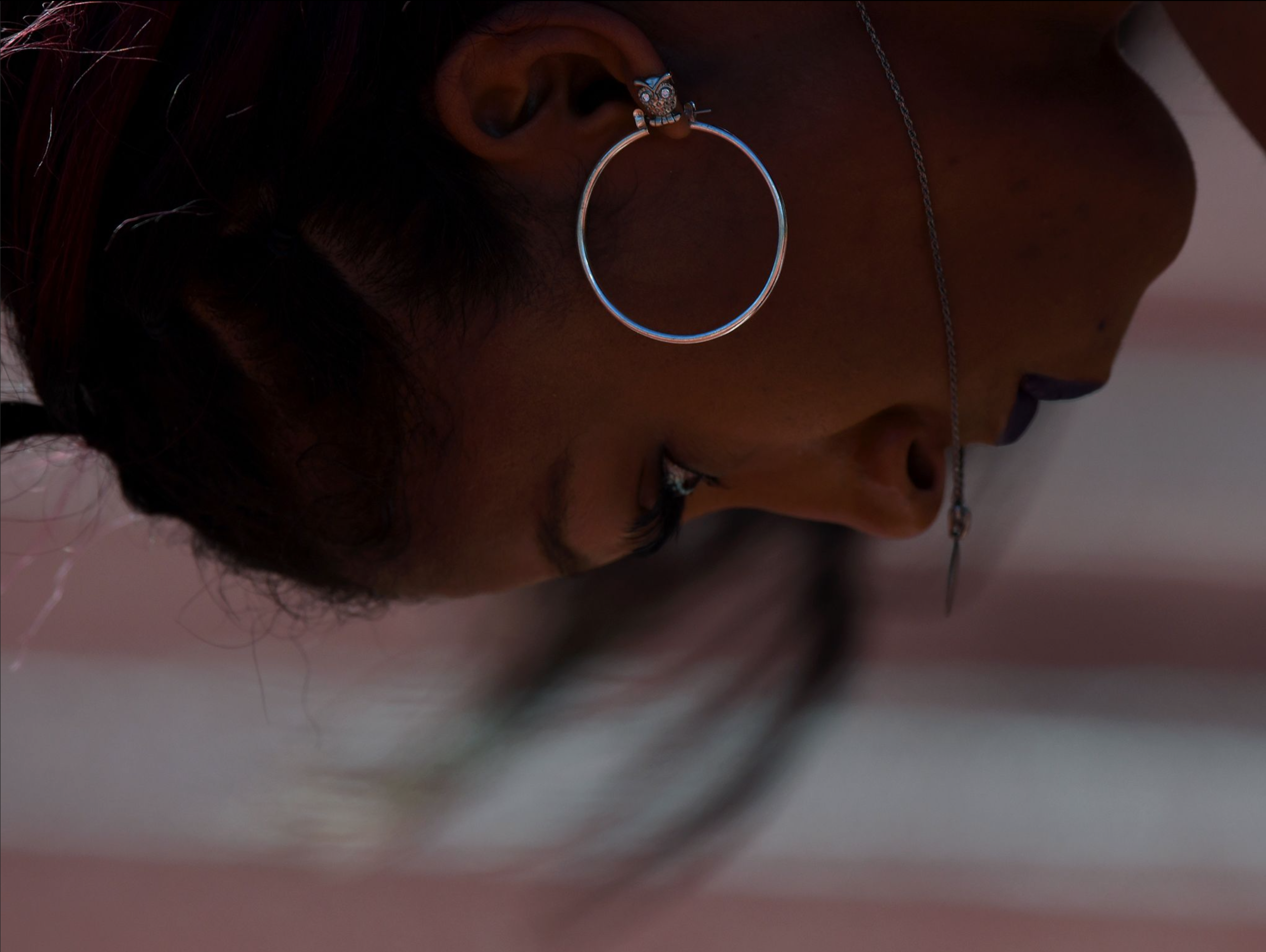 Jasmine Todd sets in the blocks in one of the women's 100-meter semifinal heats.