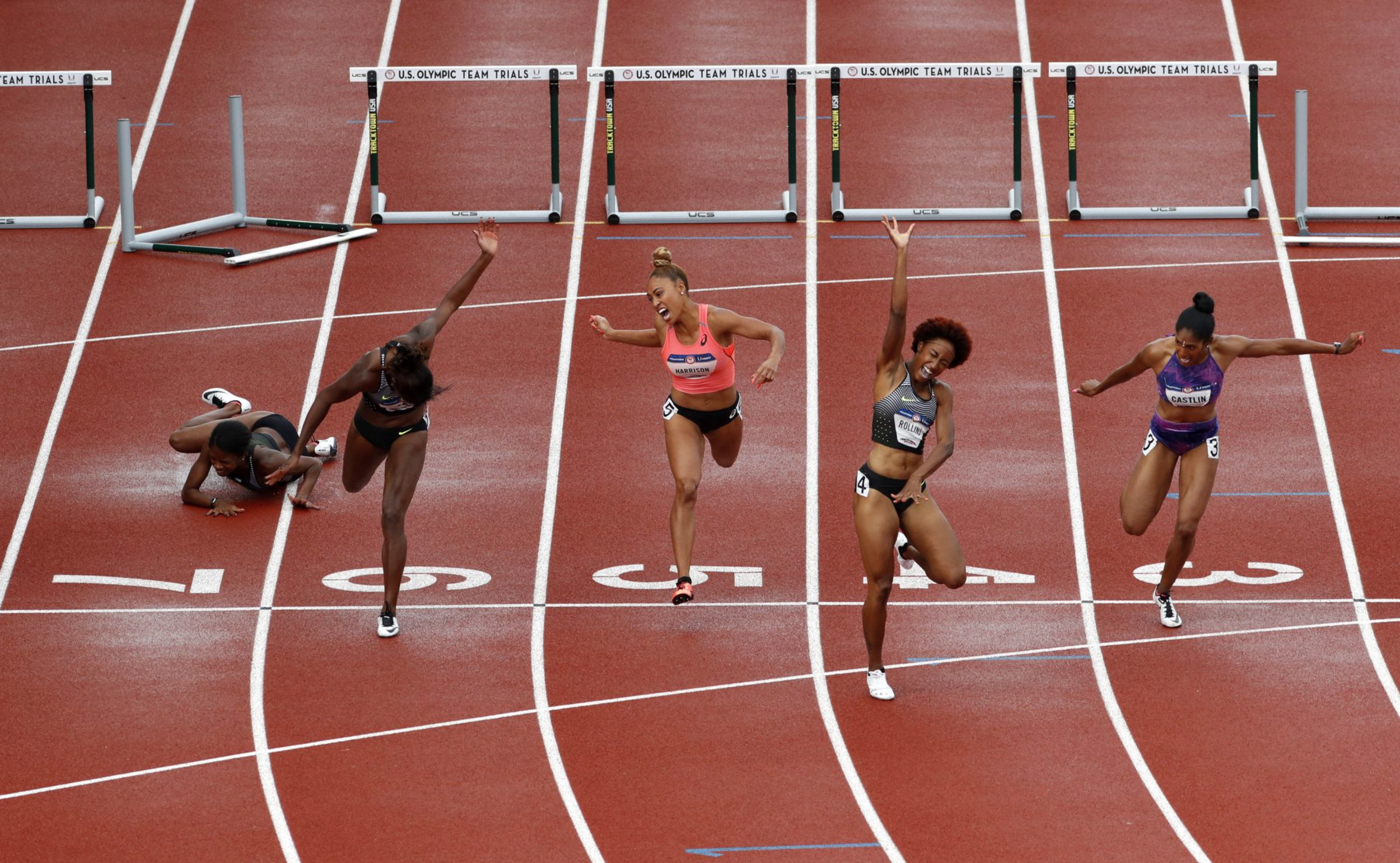 Brianna Rollins won the 100-meter hurdles final, while Jasmin Stowers fell shortly before the finish line.