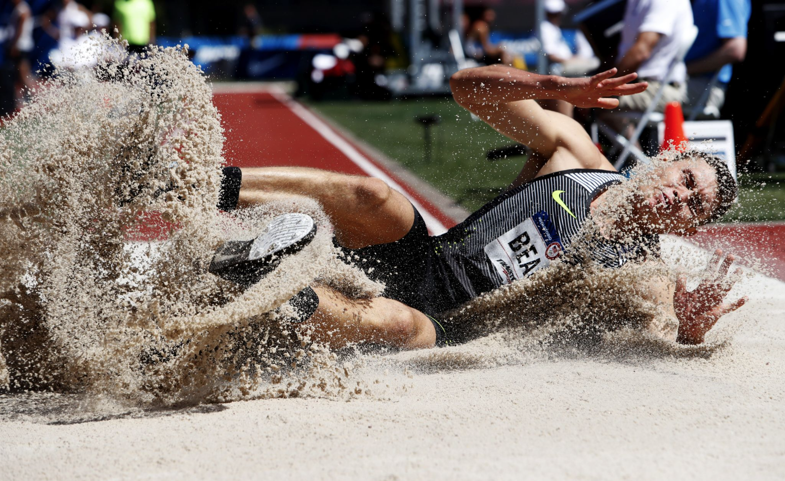 Curtis Beach competed in the decathlon long jump. He finished ninth overall in the decathlon.