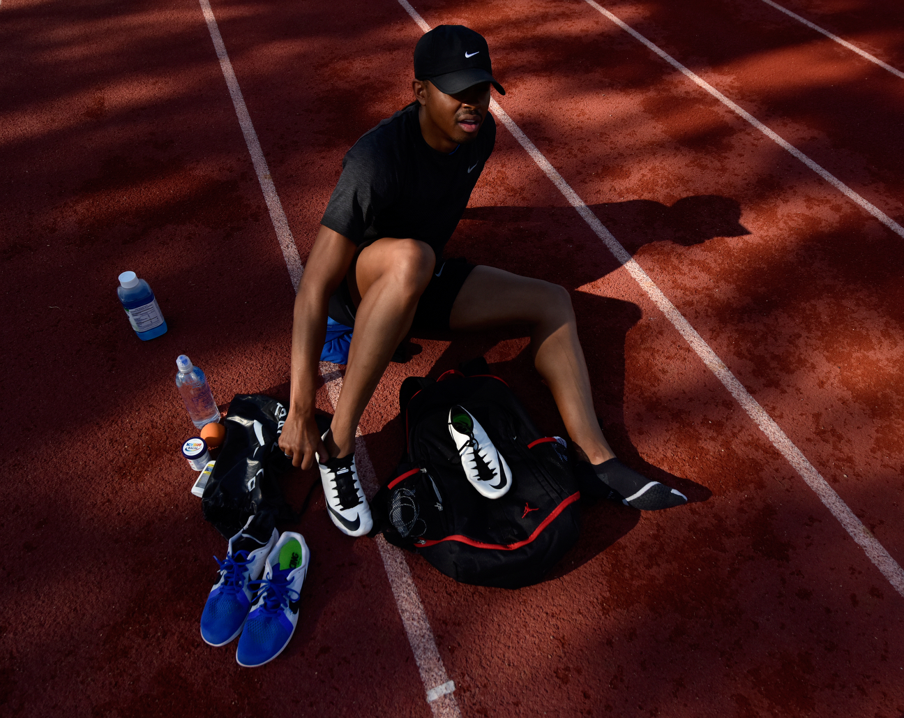 Putting on his shoes for a training session, Merritt felt much better than he did when he donned them for the 2015 world championships in Beijing. At that point, his kidney was functioning at just 10-15 percent, and he was scheduled for his transplant just days later. He still finished third.