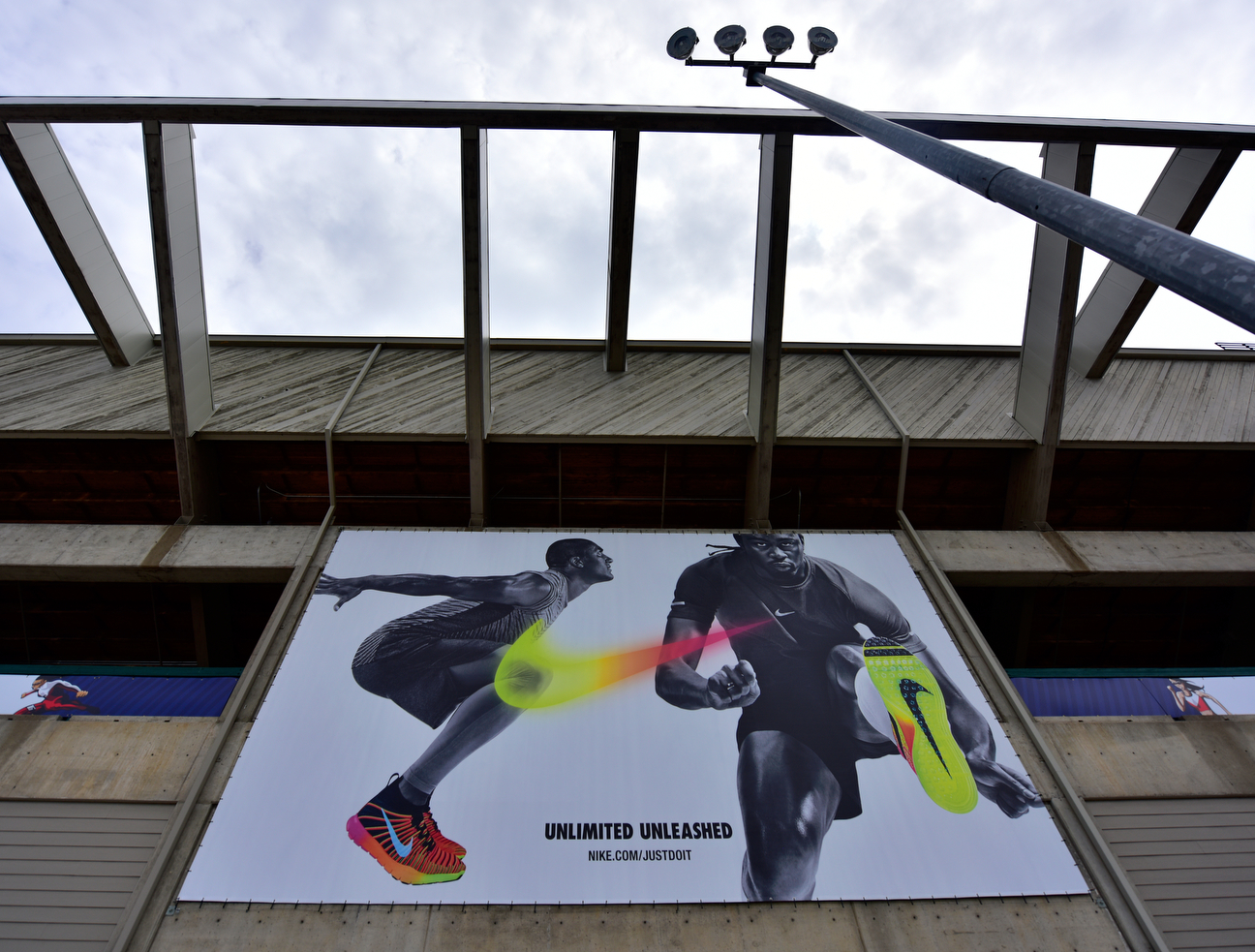 "This Nike ad at Hayward Field says Merritt is ""Unlimited'' and ""Unleashed.'' It should also say ""Undaunted by Anything. And we mean Anything!''"