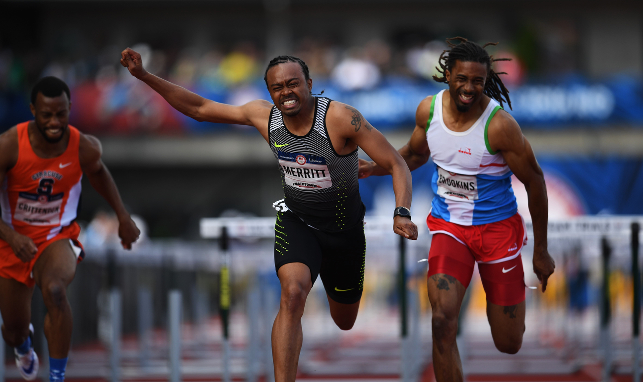 Although he clipped the hurdles four times (which he usually does not do), Merritt ran the sixth-fastest time in the first round at the U.S. Olympic trials, good enough to advance to the semifinals.