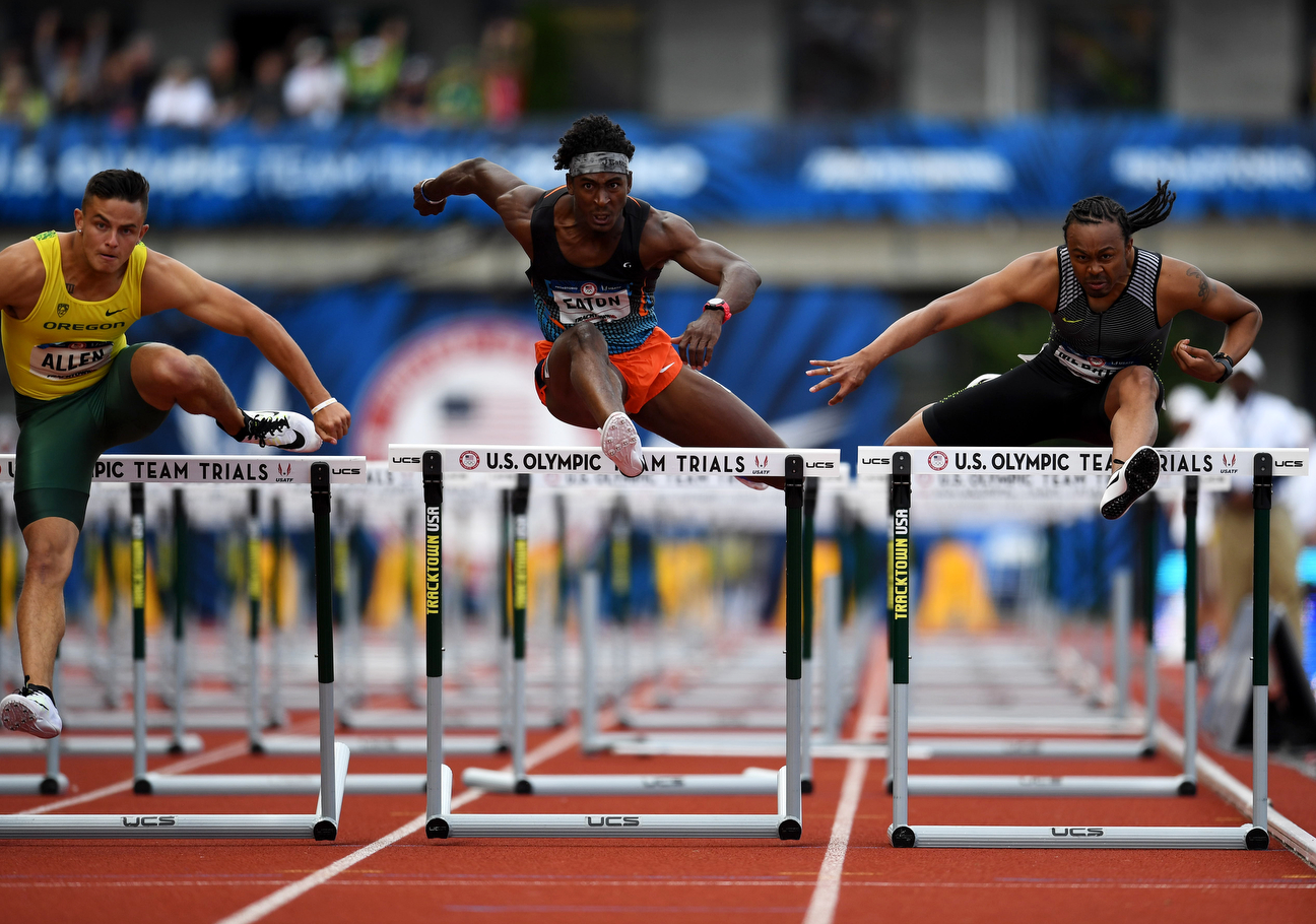 Leaping over the last hurdle, Merritt was behind Devon Allen and extremely close in the race to be among the next two finishers who would qualify for the Olympic team. The finish was so close that determining those qualifiers took an agonizing amount of time.