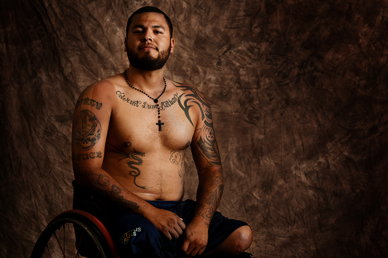 "The 26-year-old Jorge Salazar, from Delano, California, served in the Marines, losing both his legs above the knees after stepping on an IED during deployment in Afghanistan. He recently told the Bakersfield Californian, ""I want people to know that you should always keep pushing forward and never give up."""