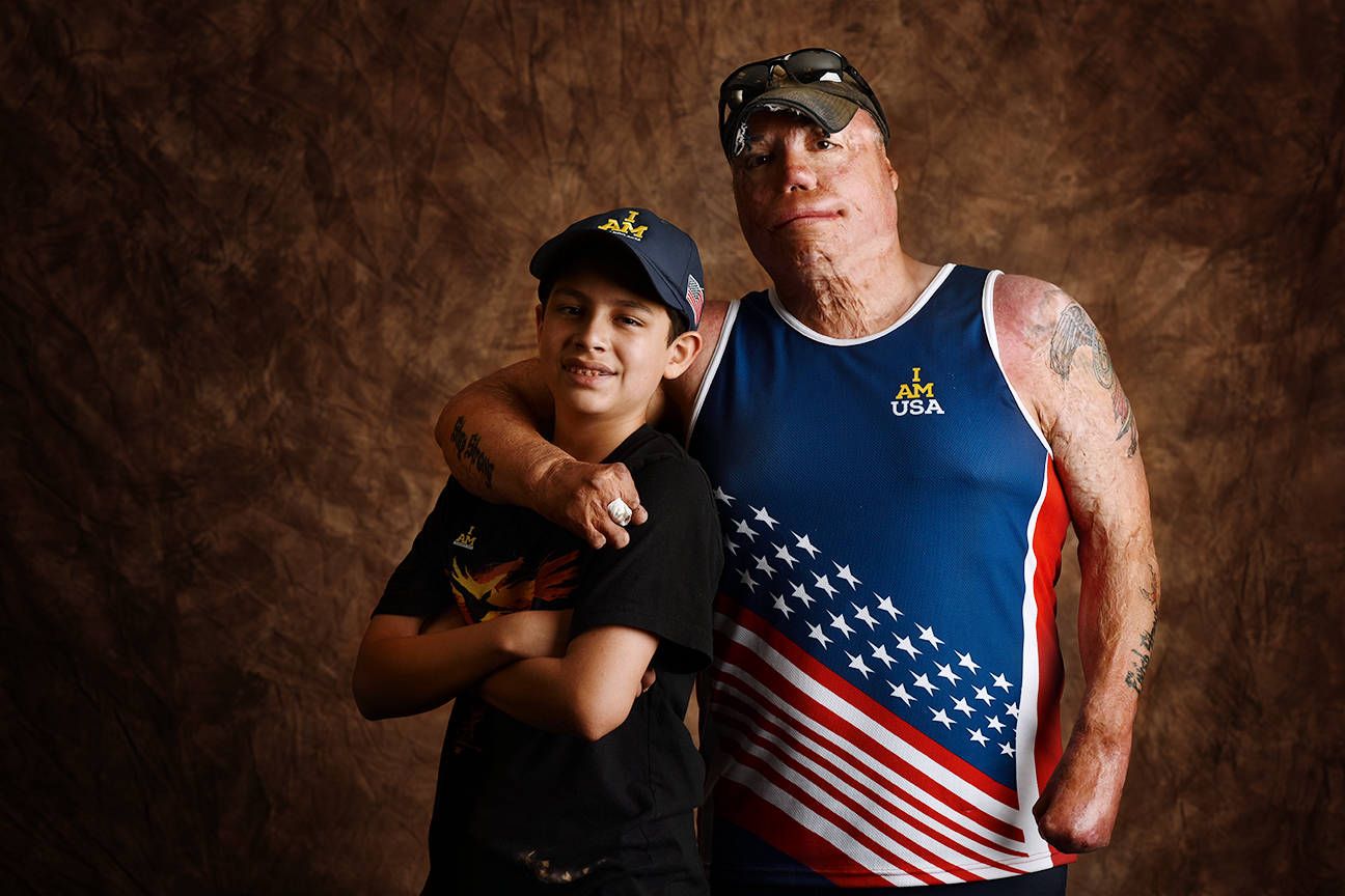 "Israel Del Toro Jr., 41, shown with his 13-year-old son, Israel III, performed Special Operations duties in the Air Force. After suffering severe burns to his body during an IED explosion, Del Toro battled back and in 2010 became the first 100-percent disabled veteran to re-enlist in the Air Force. He delivered a powerful speech at the Invictus Games Opening Ceremony, after which he was joined on stage by former President George W. Bush. As Del Toro recently told ESPN The Magazine: ""During my recovery, sports was a godsend. I had always been a good athlete, and in therapy I discovered the wonders of adaptive sports. Who ever imagined I would set world records in the discus, shot put and javelin?"""