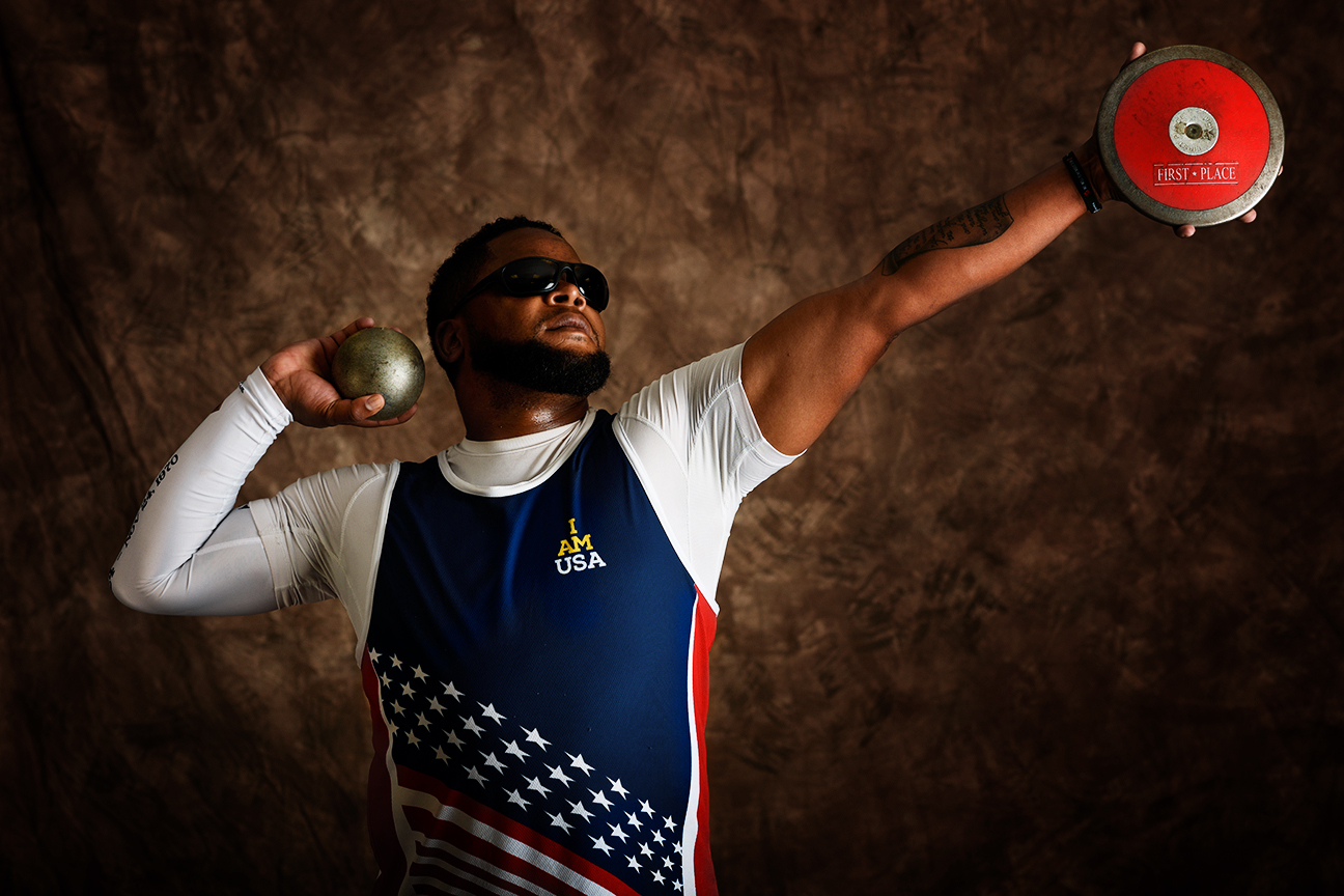 Robert Green, 37, is a veteran Army staff sergeant who served as a chemical operations specialist. He won a bronze medal in the shot put.