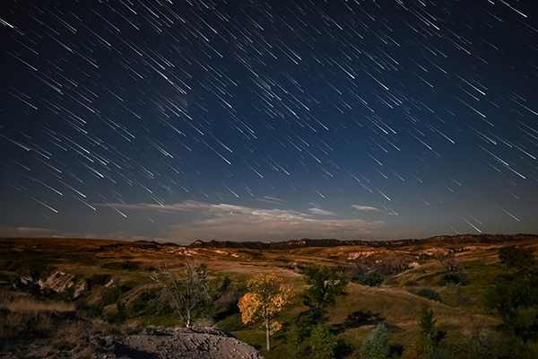 Star trails in the badlands.