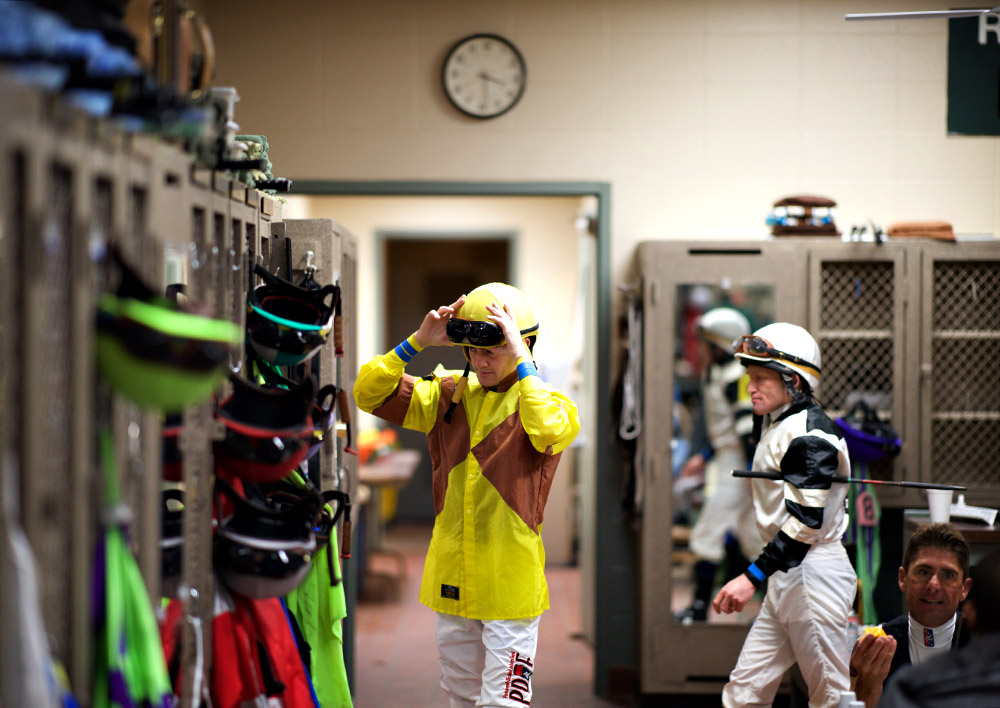 Hernandez prepares in the jockey room before a race at Churchill Downs on Tuesday. Hernandez is a rising star in this room, having earned $2.5 million on his mounts in 2017.