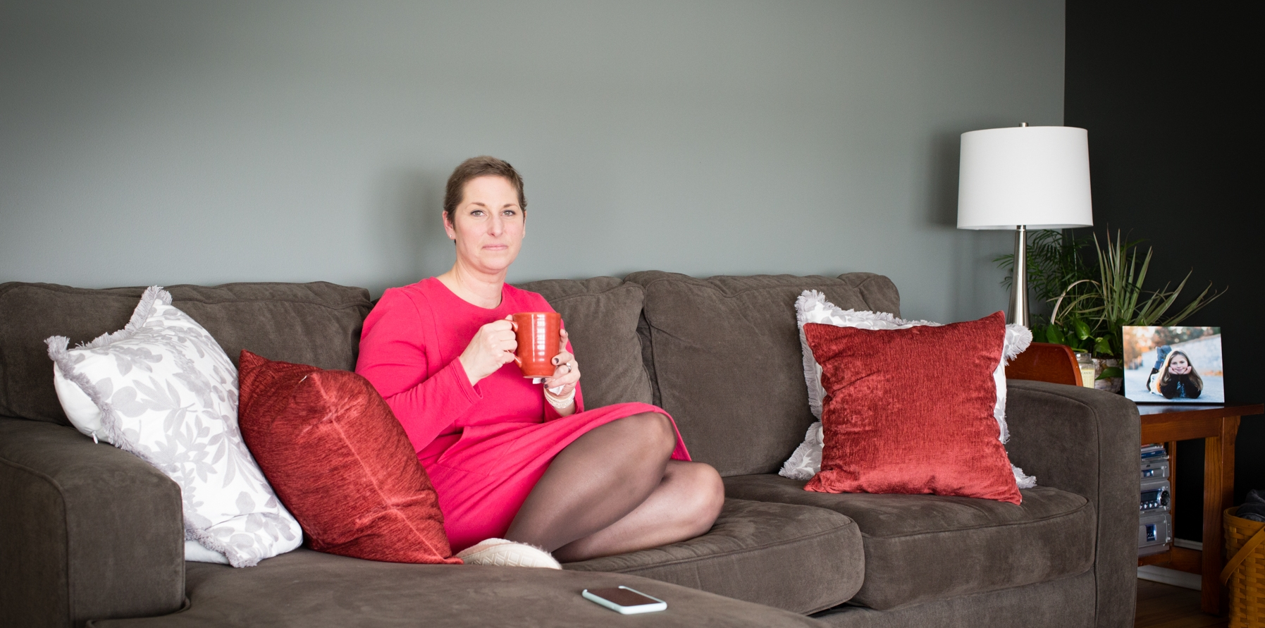 Christie Schwab, 42, at her home in Owasco, New York, enjoying a hot cup of tea. // February 5, 2018.