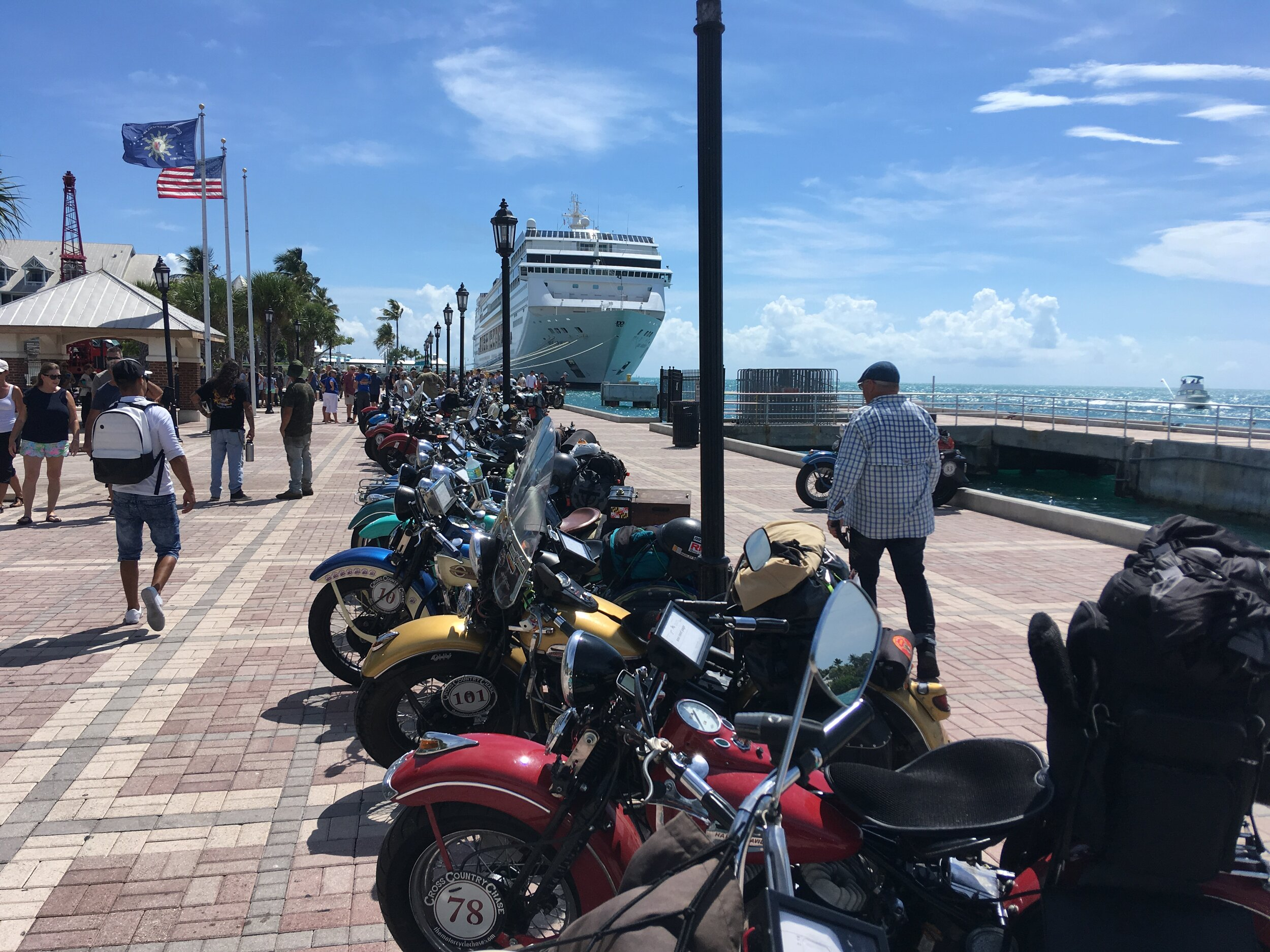 Bikes lined up in Mallory Square