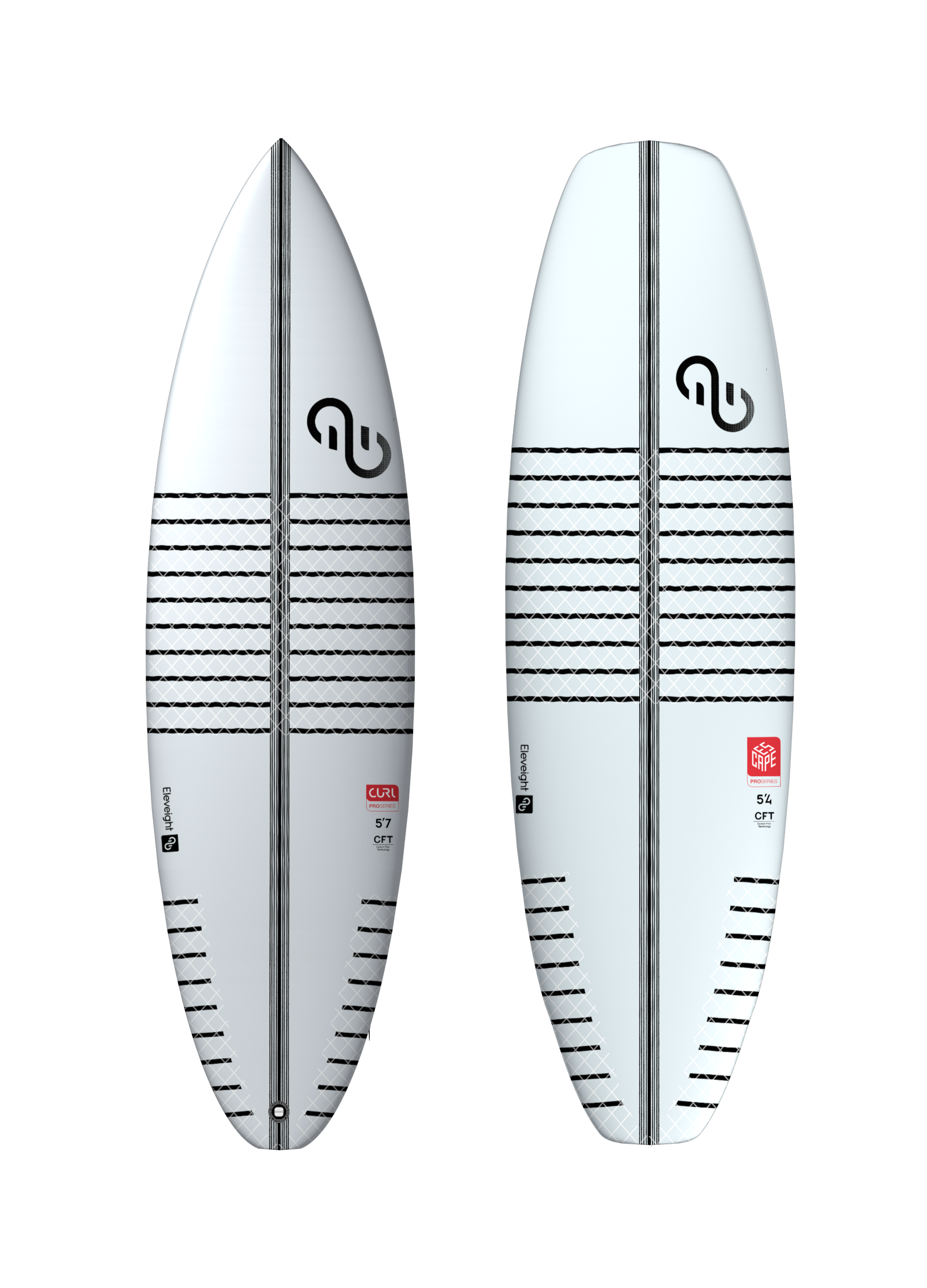 "- Curl ProSizes 5'7"", 5'10""Escape ProSizes 4'11"", 5'1"", 5'4""CFT construction that generates a pure surf feelCarbon stringer for responsive flex and durabilityInnegra/carbon vector grid reinforcements for enhanced durabilityShort rail line to minimize drag and faster rotationsThruster fin set-up with Futures systemHigh-performance board shaped by hand (no inserts for straps)The Curl Pro is based on the shape of proven performance surfboards and was adapted and optimized for kite-powered riding. The Escape Pro is a fierce strapless board handmade in Portugal, optimized for freestyle and wave riding."
