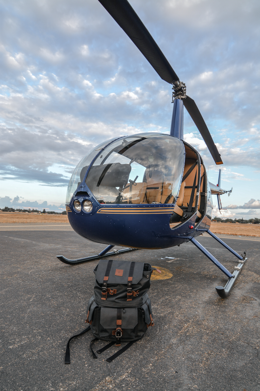 The Robinson r44 Helicopter along with my  Langly  camera bag that I carry everywhere with me.