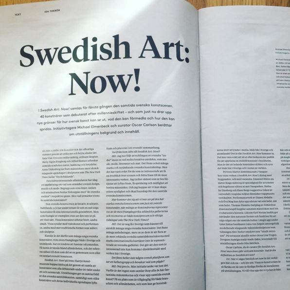 Introtext till katalogen för utställningen Swedish Art: Now! på Sven-Harrys konstmuseum våren 2016