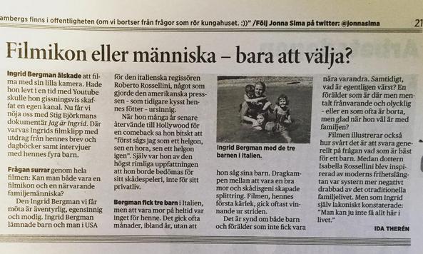 I Arbetet (LO:s tidning)   http://arbetet.se/2015/08/25/filmikon-eller-manniska-bara-att-valja/