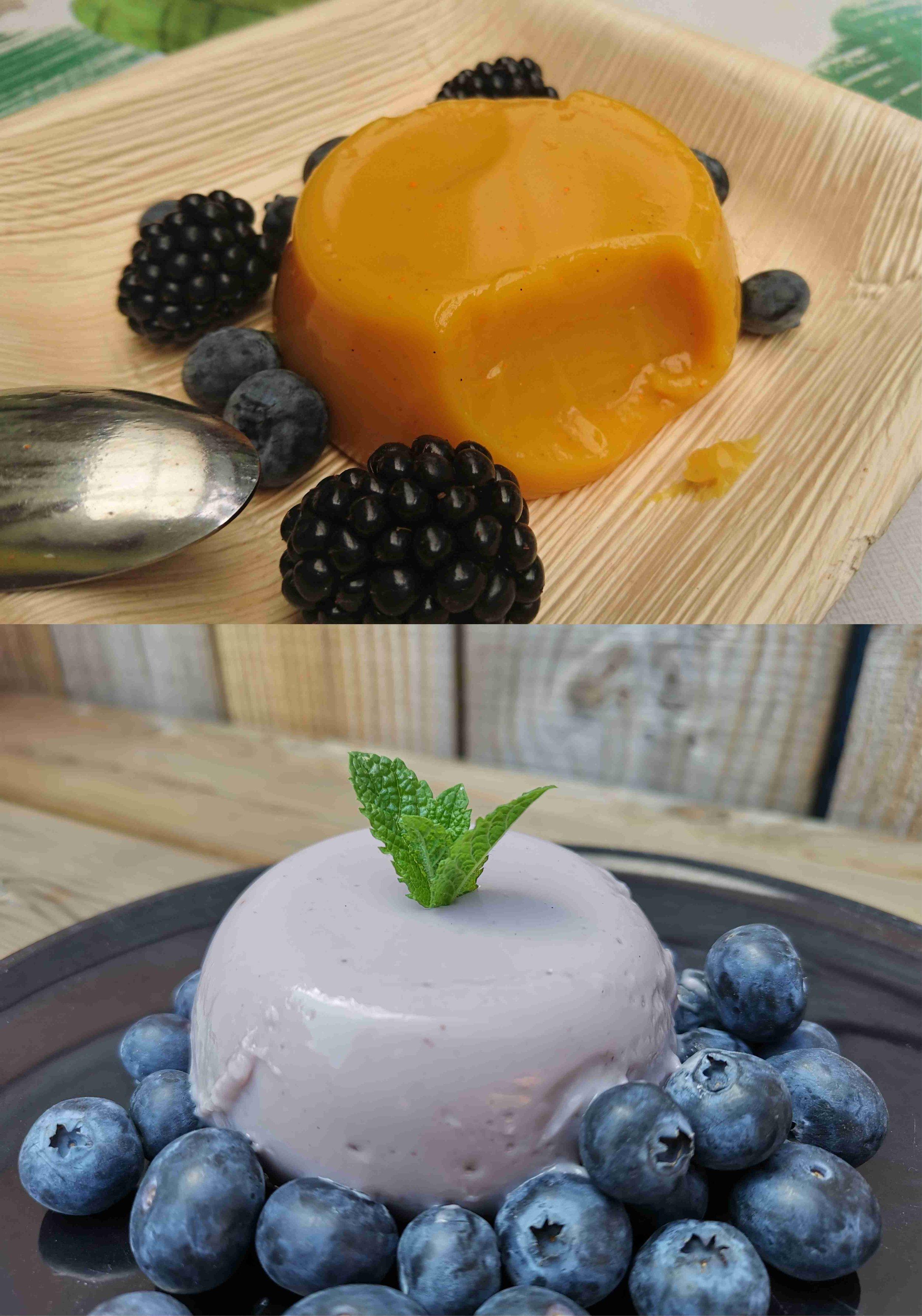 Kuzupudding - - 70 gram kuzu- 800 ml plantaardige melk- vanille- rietsuiker of ahornsiroop (optioneel)Los de kuzu, samen met de andere ingrediënten, op in de koude melk. Laat alles koken tot een dikke pudding. Verdeel over 6 glaasjes en laat opstijven in de koelkast.Hoe meer kuzu je toevoegt, des te stijver de pudding zal worden.Voor de gele variant gebruikte ik curcuma. In de lichtpaarse zitten vlierbessen. Je kunt evengoed blauwe bessen of pure chocolade toevoegen voor een andere kleur en smaak.