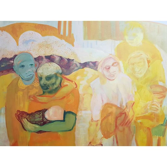 In awe every time 💛 @antoniashowering. . . . . . . . #antoniashowering #femaleartist #femalepainter #emergingartist #figurativepainting #contemporarypainting #contemporaryartist #paintinglayers #memories #paintingmemories #art #contemporaryart #studiovisit #artiststudio #artcollecting #inspiration #londonartists