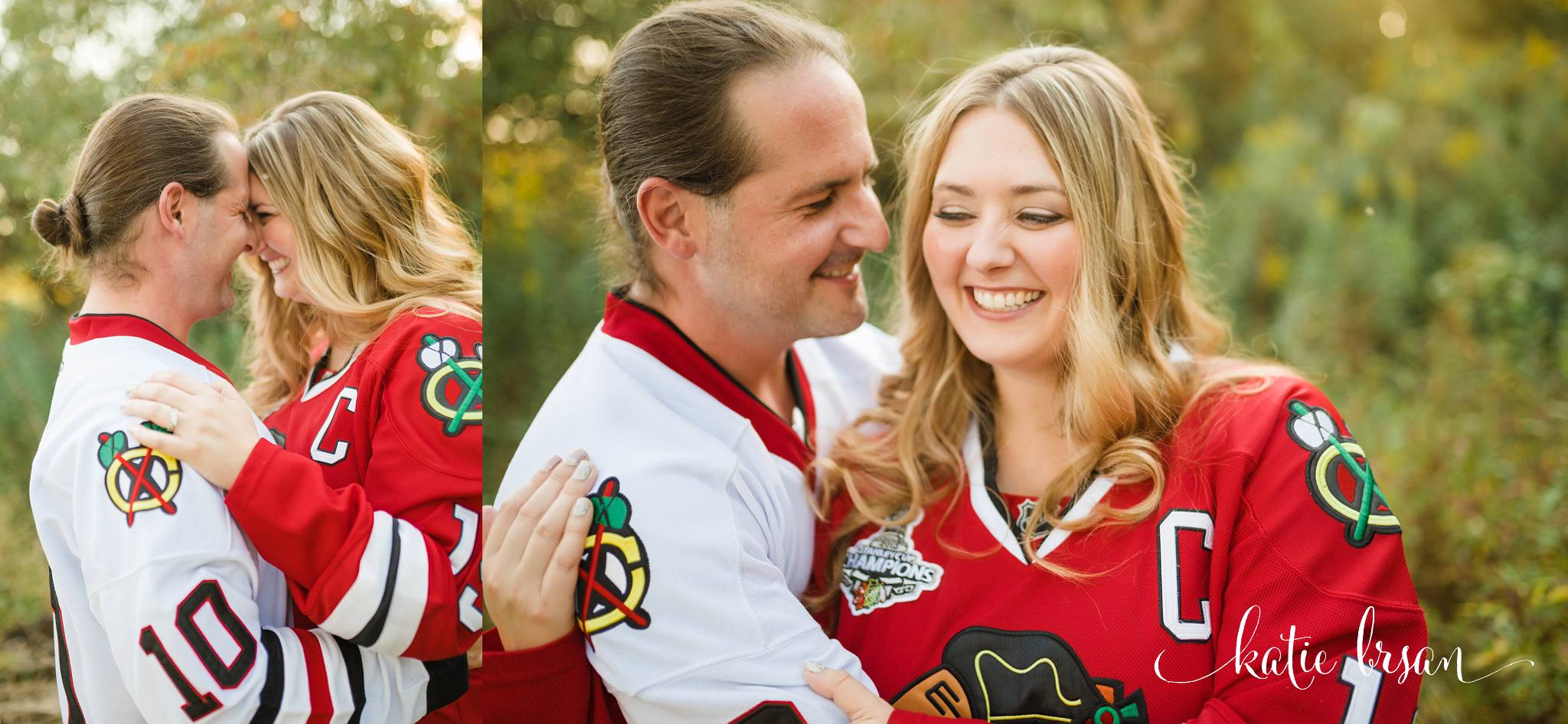 couple laughing in hocky jersies having engagment photos taken