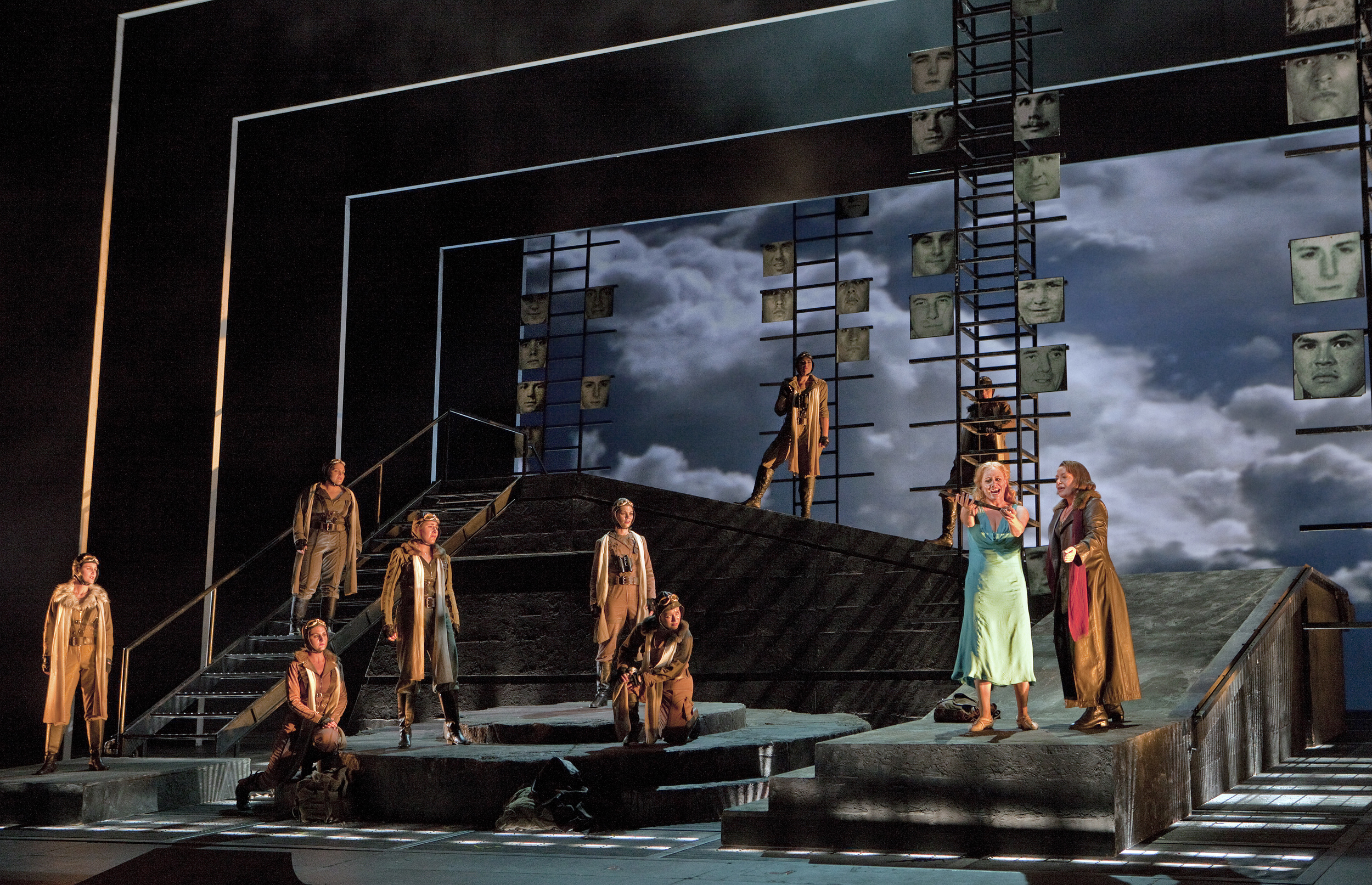 Brunnhilde convinces Sieglinde to hide from Wotan for the sake of her child to be, while the other Valkyries look on. Photo courtesy of Washington National Opera/ Kennedy Center.
