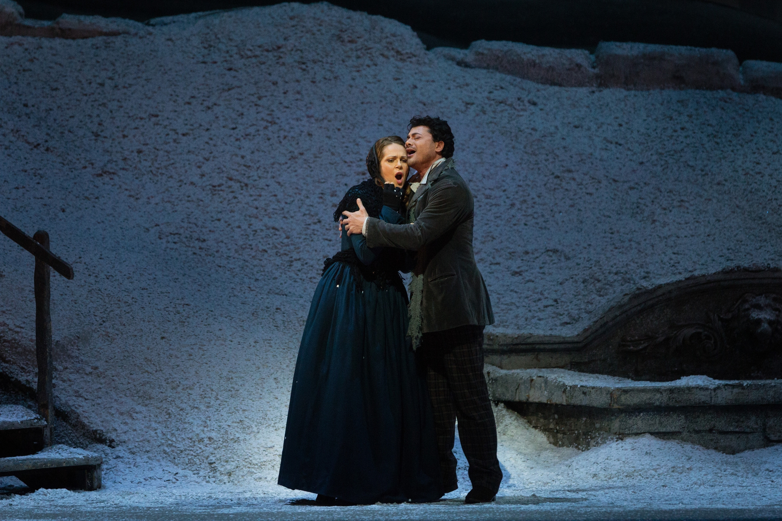 Kristine Opolais as Mimi and Vittorio Grigolo as Rodolfo in La Boheme.  Photo by Marty Sohl; courtesy of Metropolitan Opera.