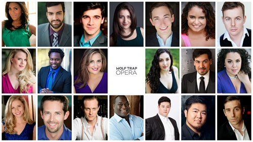 Wolf Trap Opera Filene Young Artists 2016. Top row, left to right: J'Nai Bridges, Timothy Bruno, Ben Edquist, Mane Galoyan, Jonas Hacker, Summer Hassan, Alasdair Kent. Middle row: Sarah Larsen, Will Liverman, D'Ana Lombard, Clarissa Lyons, Richard Ollarsaba, Kerriann Otano.  Bottom row: Amy Owens, Shea Owens, Brenton Ryan, Reginald Smith, Jr., Kihun Yoon, Yongzhao Yu, Christian Zaremba. Photo courtesy of Wolf Trap Opera.