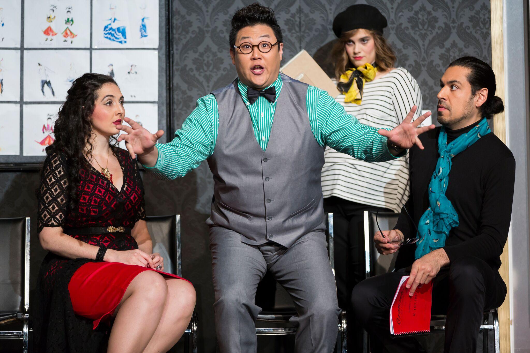 Clarissa Lyons, Kihun Yoon, Richard Ollarsaba (background in beret: Rebecca Claborn) in L'Opera Seria.  Photo by Scott Suchman; courtesy of Wolf Trap Opera, 2016.