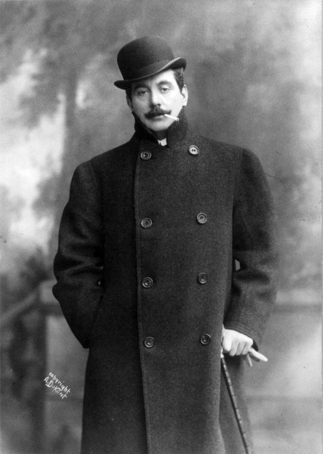 Public domain - 1908 photo of Giacomo Puccini