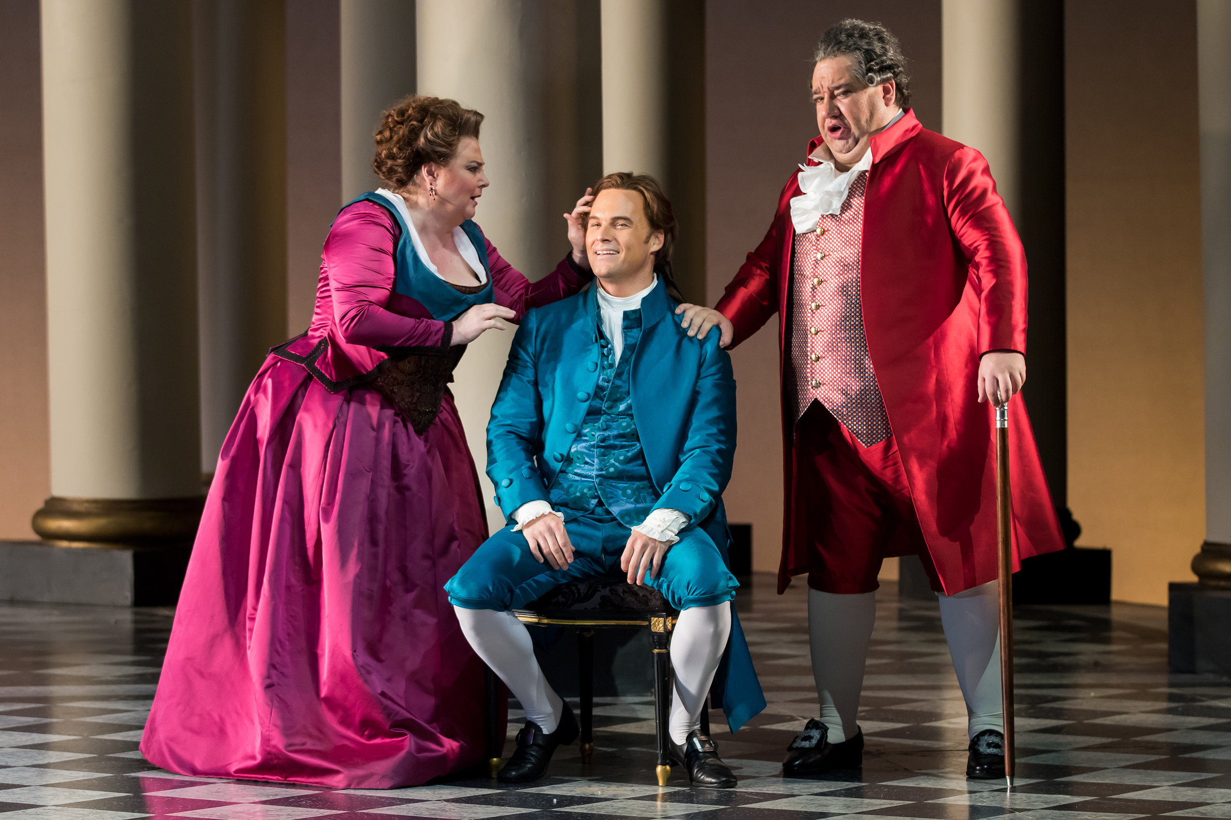 Elizabeth Bishop as Marcellina, Ryan McKinny as Figaro, and Valeriano Lanchas as Dr. Bartolo. Photo by Scott Suchman for WNO; photo courtesy of WNO.