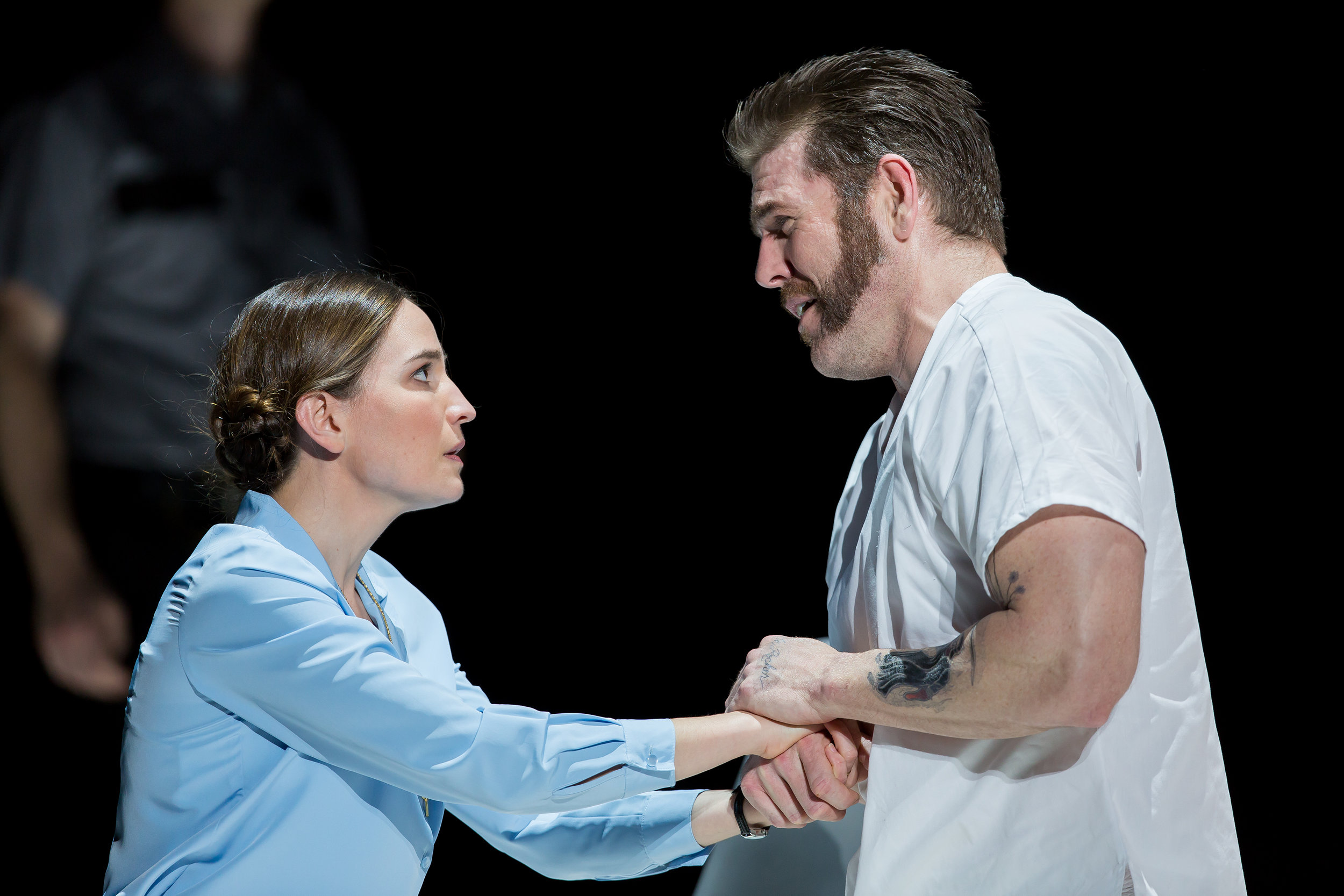 Kate Lindsey as Sister Helen Prejean and Michael Mayes as Joseph De Rocher. Photo by Scott Suchman and courtesy of Washington National Opera.